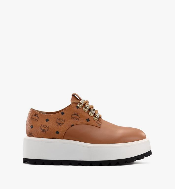 MCM Women's Platform Shoes in Visetos Cognac MESASMM30CO037 Alternate View 2