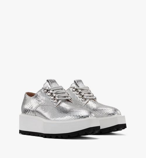 Chaussures à plateforme pour femme en cuir argenté Disco
