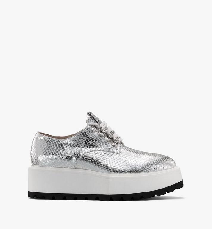 MCM Women's Platform Shoes in Disco Silver Leather  MESASMM31SE036 Alternate View 2
