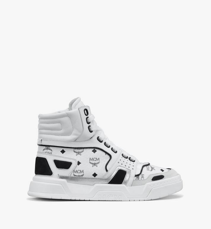 MCM Women's Skyward High-Top Sneakers in Visetos White MESASMM38WT037 Alternate View 2