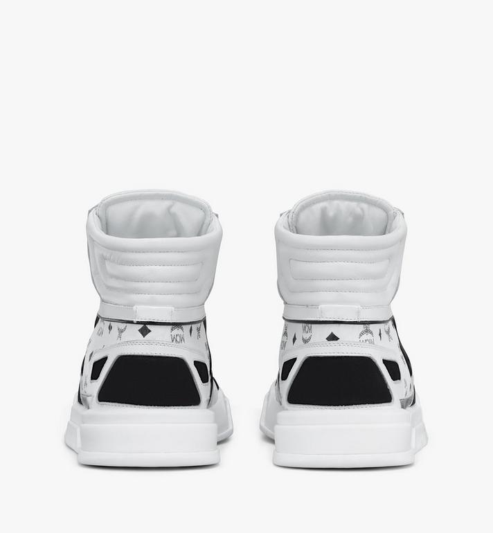 MCM Women's Skyward High-Top Sneakers in Visetos White MESASMM38WT037 Alternate View 3