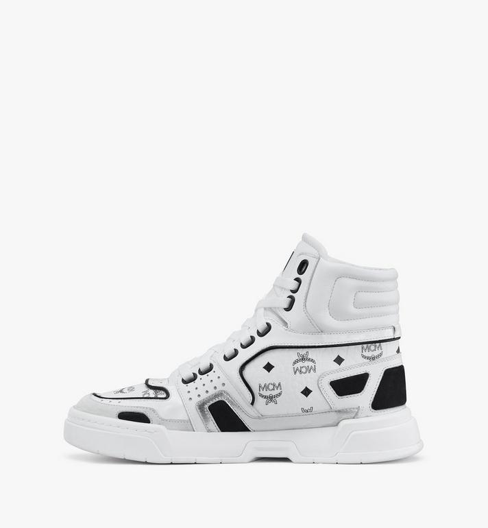 MCM Women's Skyward High-Top Sneakers in Visetos White MESASMM38WT037 Alternate View 4