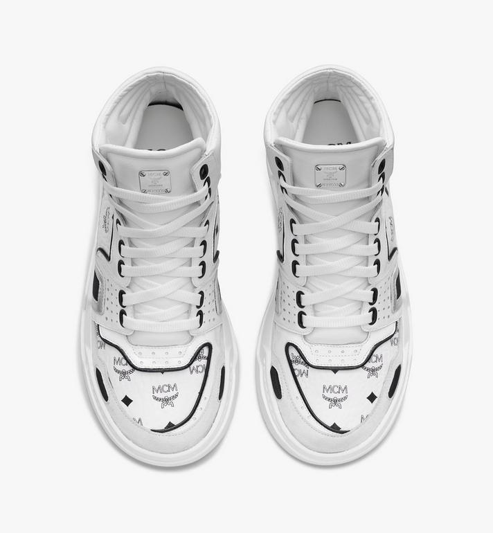 MCM Women's Skyward High-Top Sneakers in Visetos White MESASMM38WT037 Alternate View 5