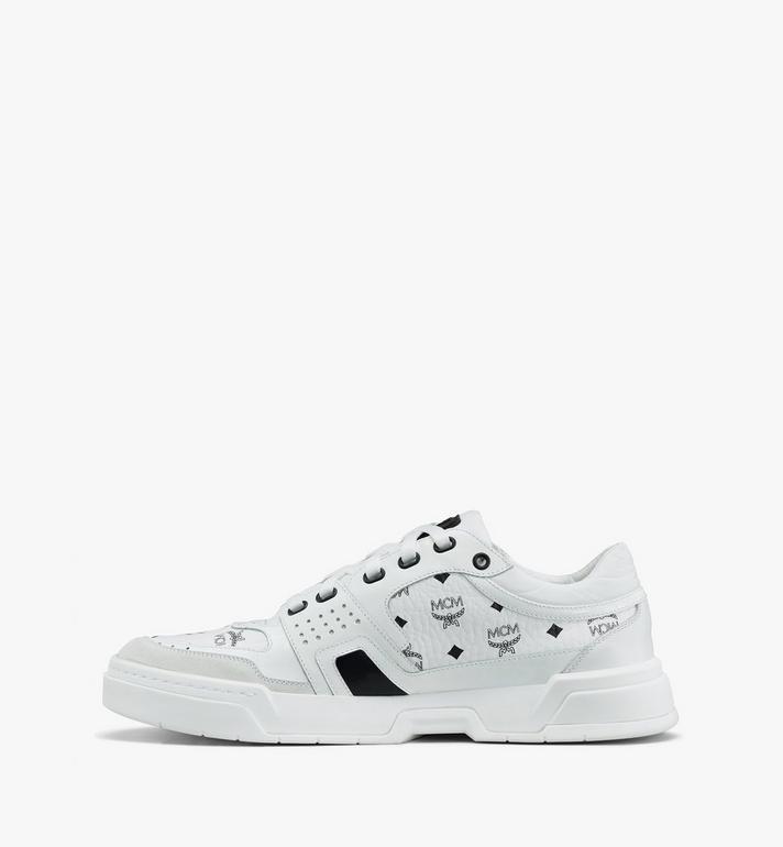 MCM Women's Skyward Low-Top Sneakers in Visetos White MESASMM44WT036 Alternate View 4