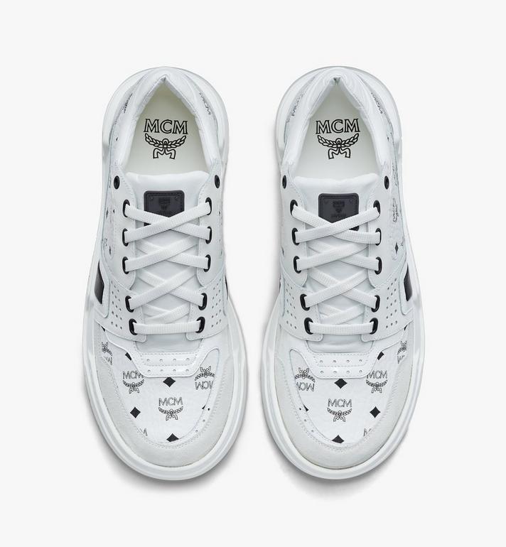MCM Women's Skyward Low-Top Sneakers in Visetos White MESASMM44WT036 Alternate View 5