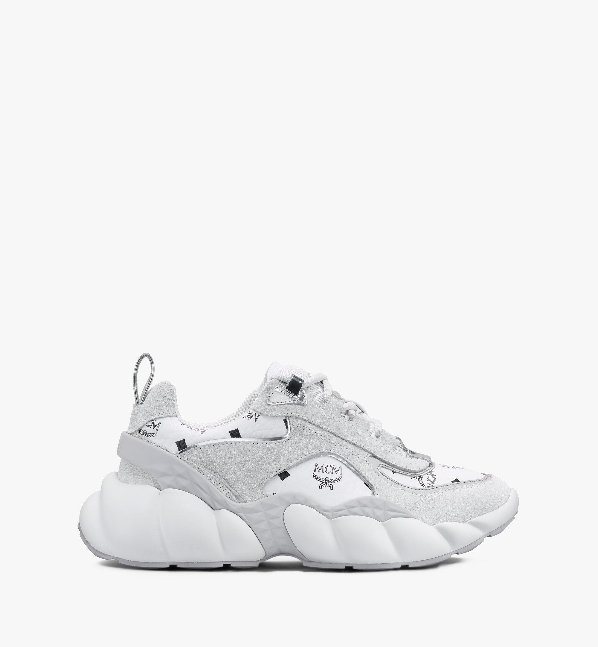 MCM Women's Himmel Low-Top Sneakers in Visetos White MESASNX05WT037 Alternate View 1