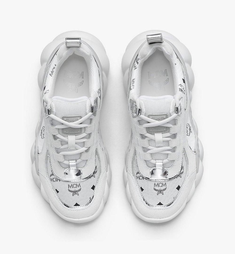MCM Women's Himmel Low-Top Sneakers in Visetos White MESASNX05WT037 Alternate View 4