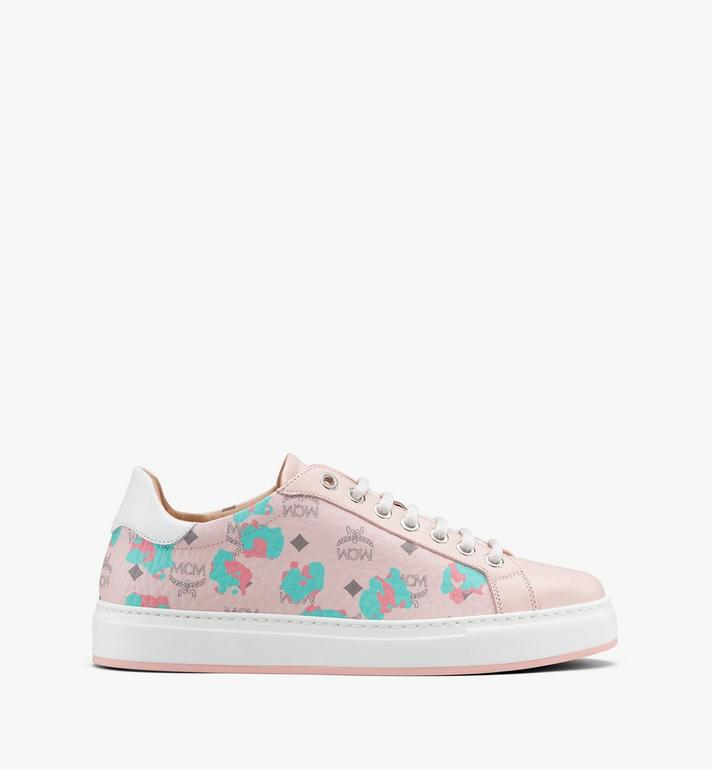 MCM Women's Low-Top Sneakers in Floral Leopard Pink MESASSE03QI036 Alternate View 2