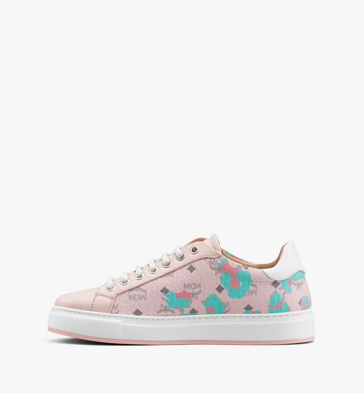 MCM Women's Low-Top Sneakers in Floral Leopard Pink MESASSE03QI036 Alternate View 4
