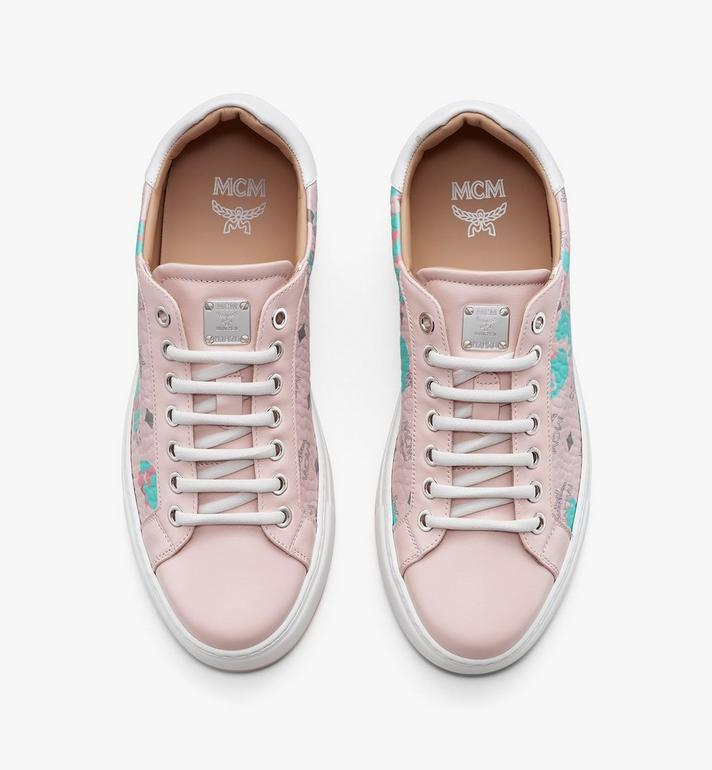 MCM Women's Low-Top Sneakers in Floral Leopard Pink MESASSE03QI036 Alternate View 5