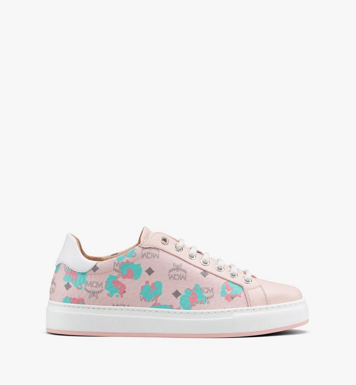 MCM Women's Low-Top Sneakers in Floral Leopard Pink MESASSE03QI037 Alternate View 2