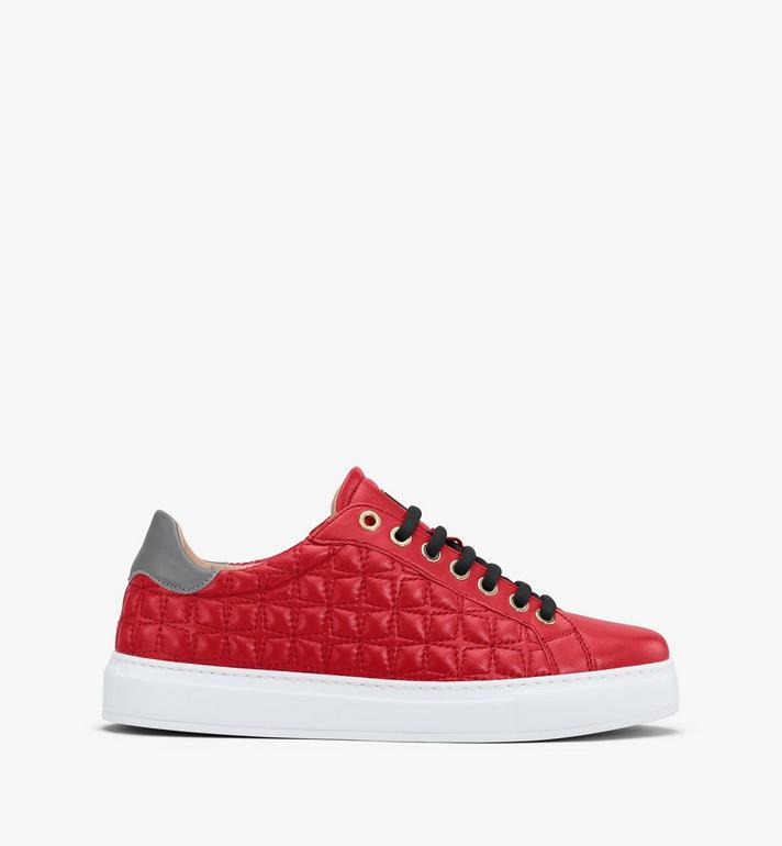 MCM Women's Classic Low-Top Sneakers in Quilted Leather Red MESASSE04R4037 Alternate View 2