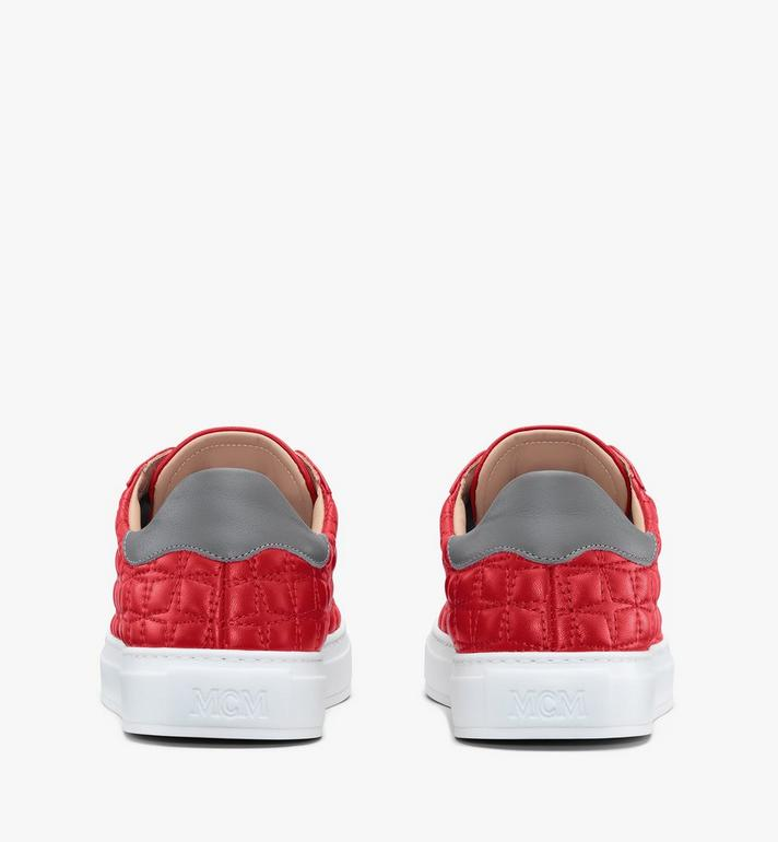 MCM Women's Classic Low-Top Sneakers in Quilted Leather Red MESASSE04R4037 Alternate View 3