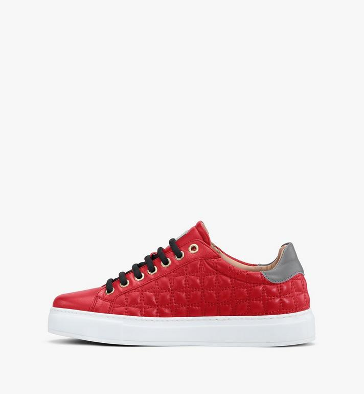 MCM Women's Classic Low-Top Sneakers in Quilted Leather Red MESASSE04R4037 Alternate View 4