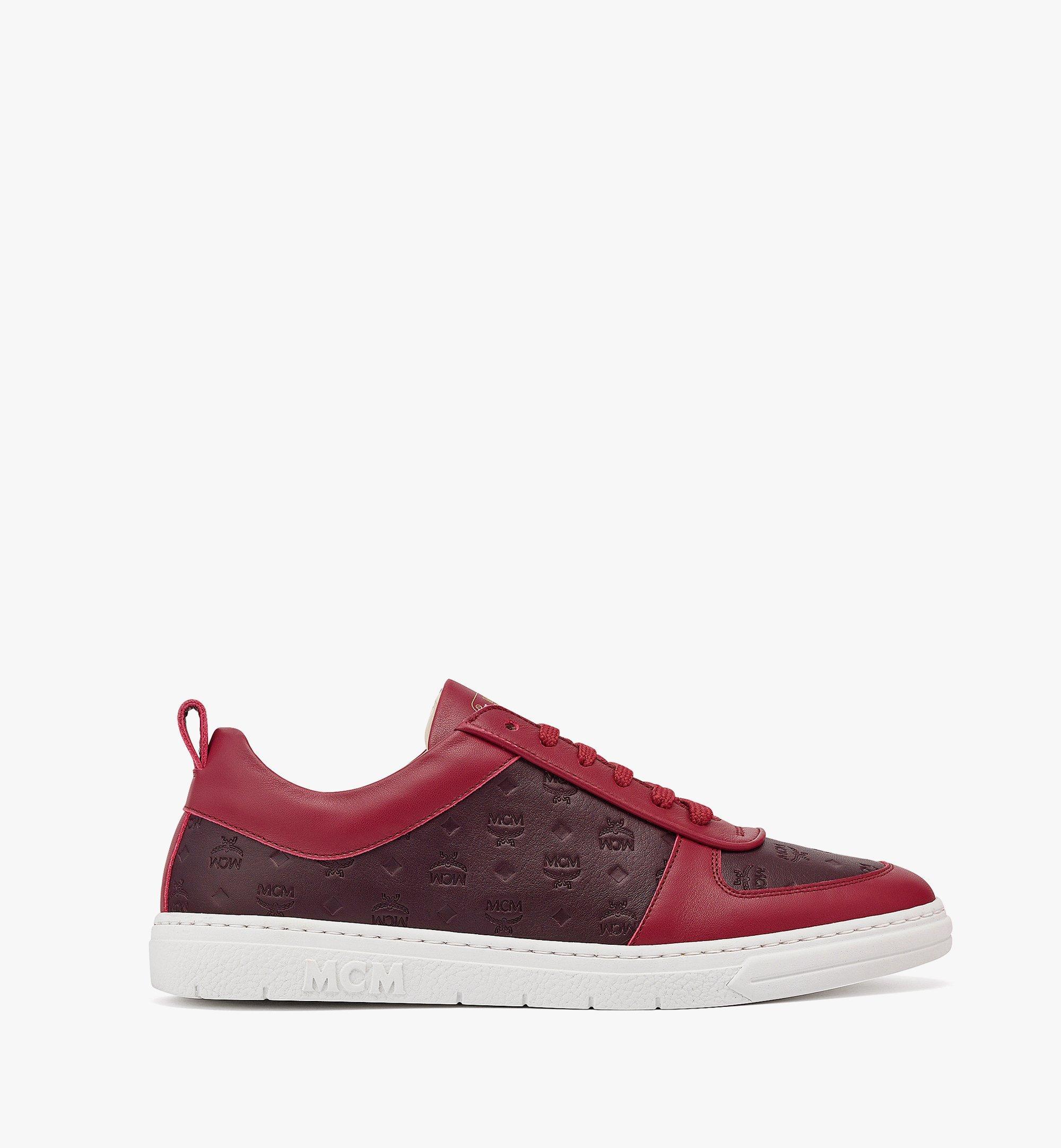 MCM Women's Sustainable Terrain Lo Sneakers in Monogram Leather Brown MESBAMM01N9036 Alternate View 3