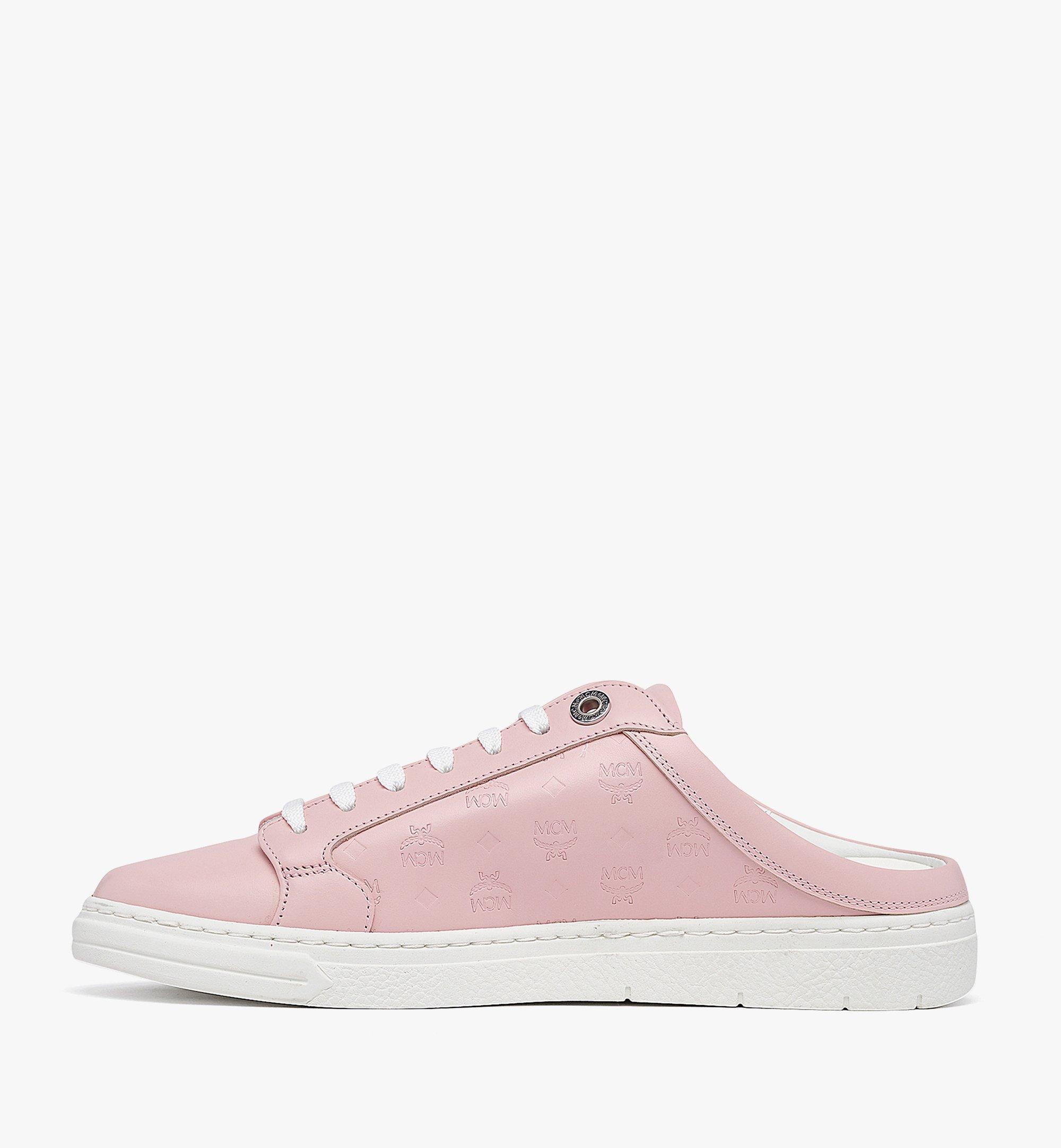 MCM Women's Terrain Lo Open Back Sneakers in Monogram Calf Leather Pink MESBAMM03QH036 Alternate View 1