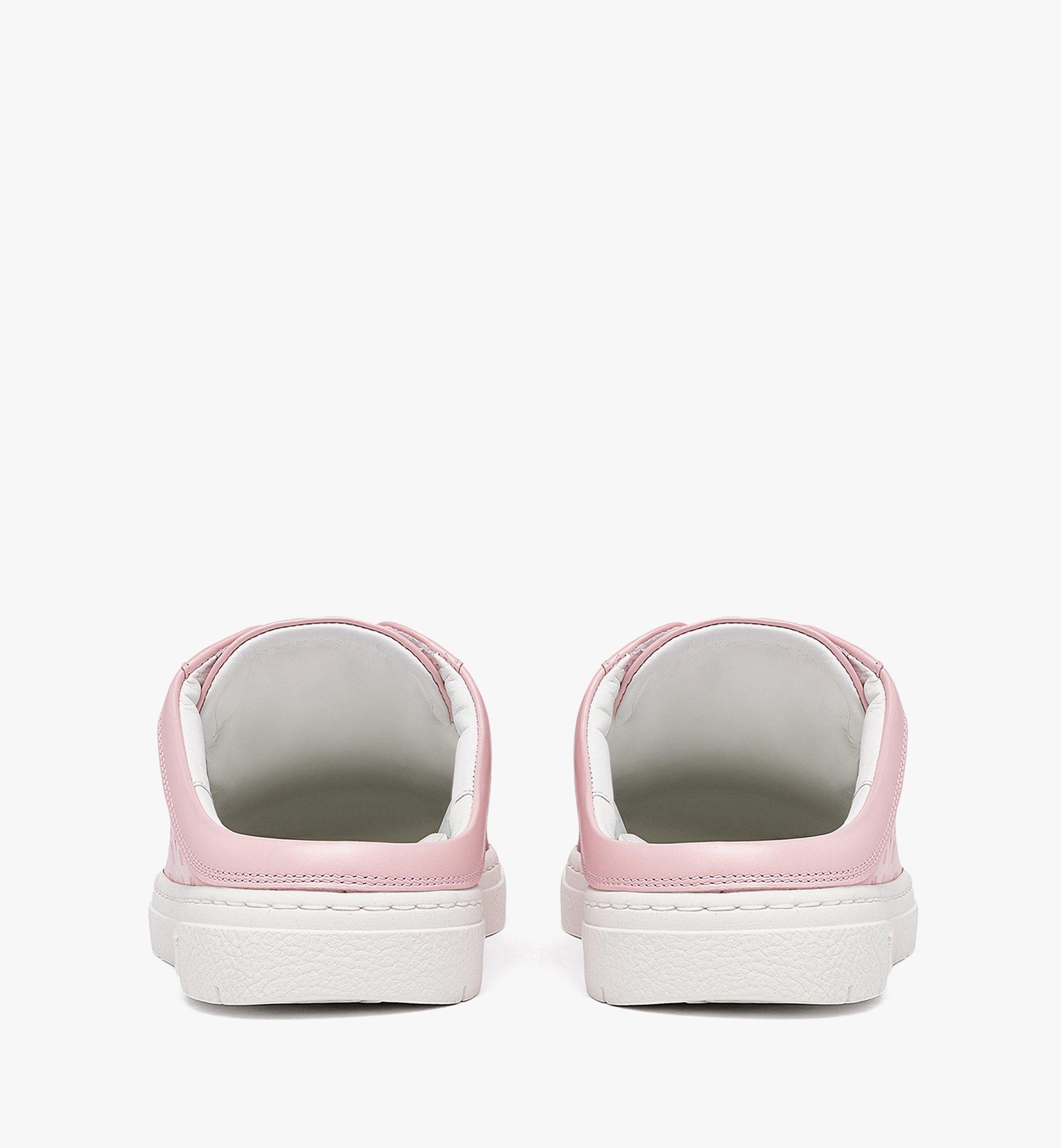 MCM Women's Terrain Lo Open Back Sneakers in Monogram Calf Leather Pink MESBAMM03QH036 Alternate View 3