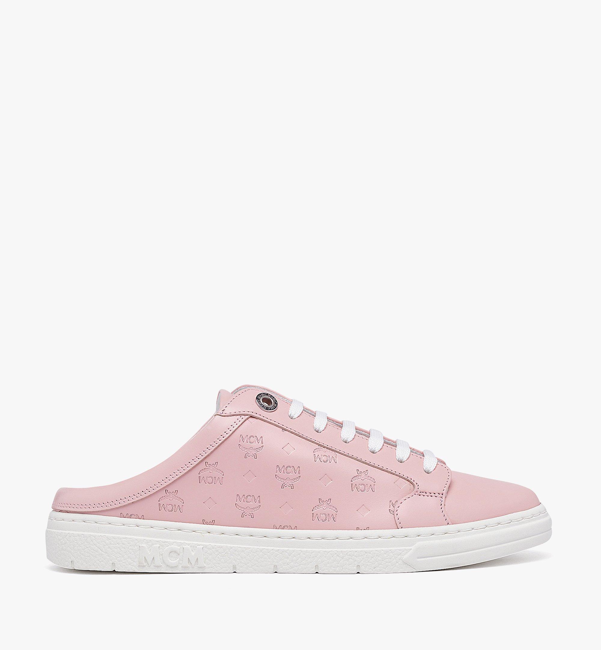 MCM Women's Terrain Lo Open Back Sneakers in Monogram Calf Leather Pink MESBAMM03QH036 Alternate View 4