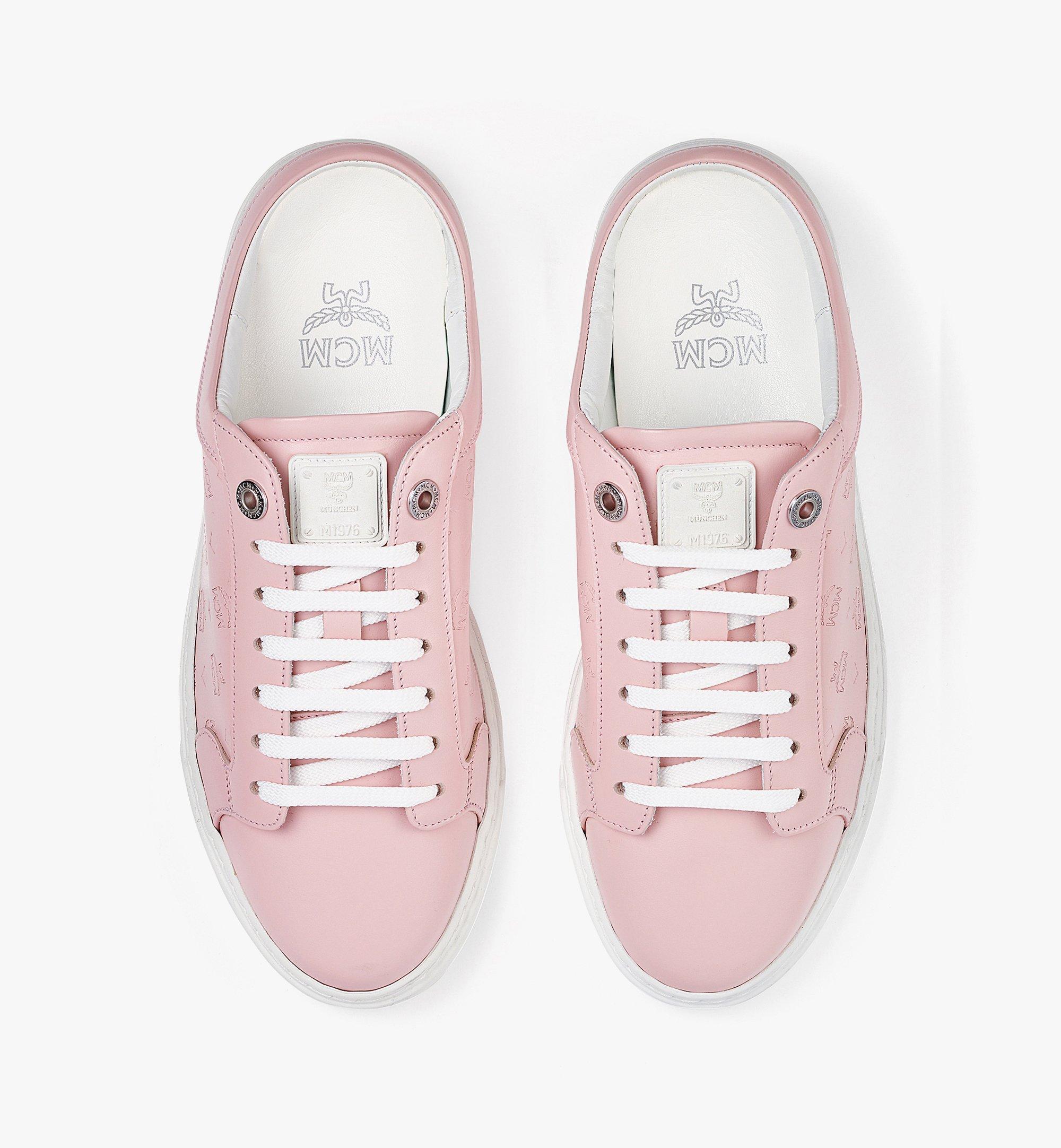 MCM Women's Terrain Lo Open Back Sneakers in Monogram Calf Leather Pink MESBAMM03QH036 Alternate View 5
