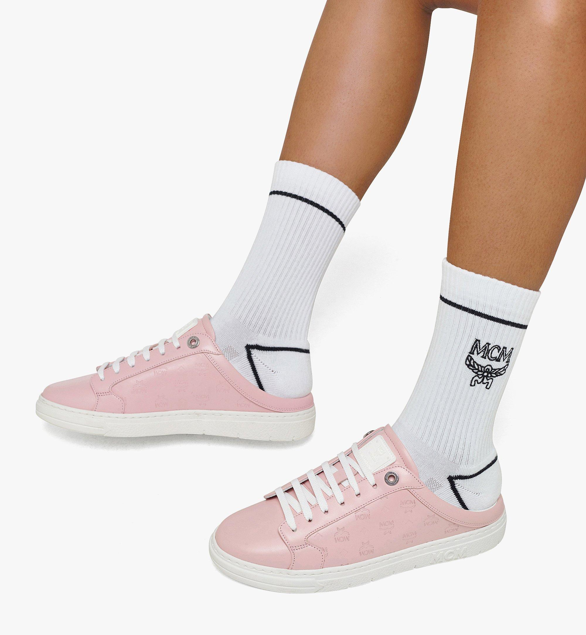 MCM Women's Terrain Lo Open Back Sneakers in Monogram Calf Leather Pink MESBAMM03QH036 Alternate View 2