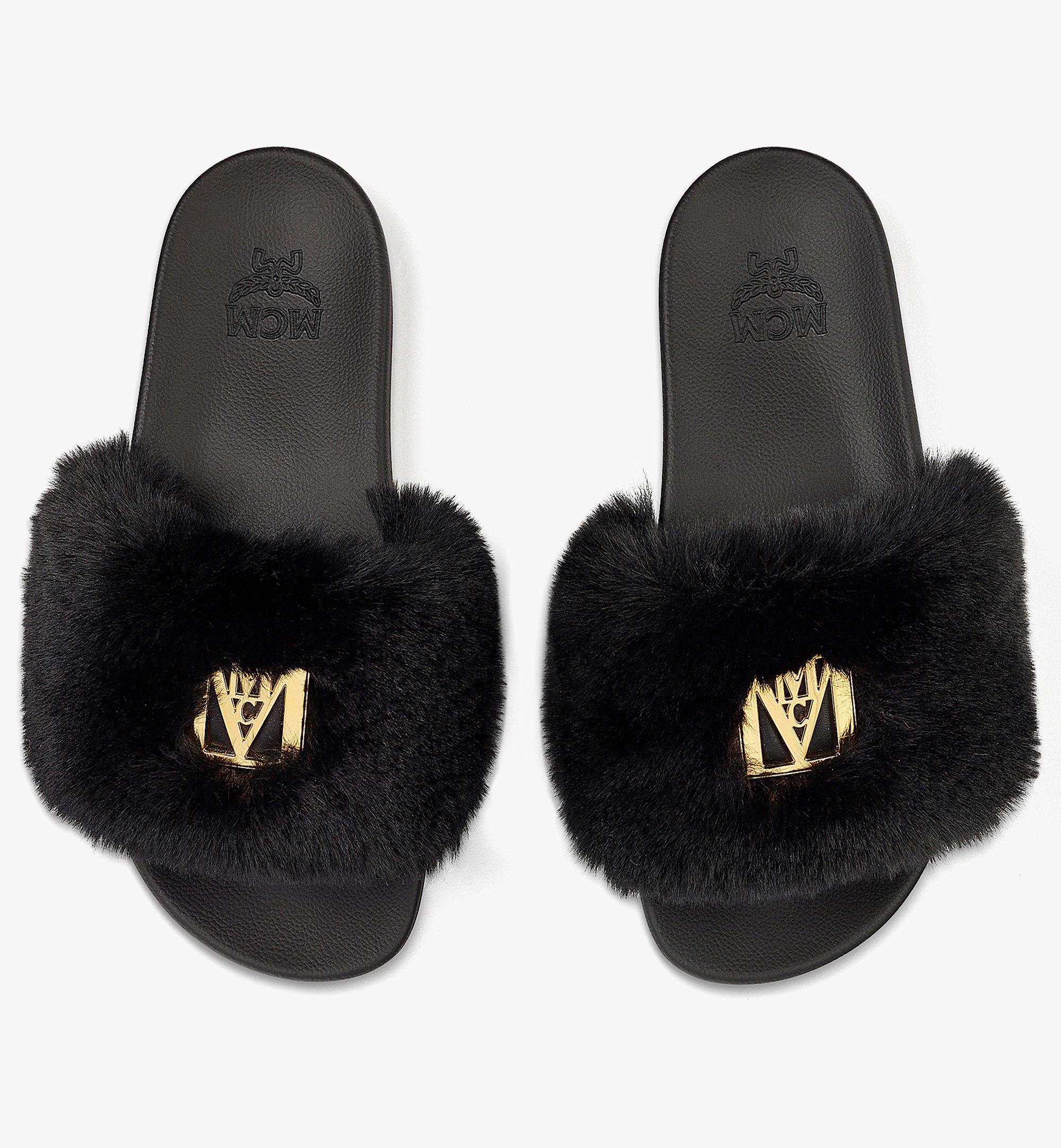 MCM Women's Faux Fur Logo Slides Black MESBASX04BK037 Alternate View 4