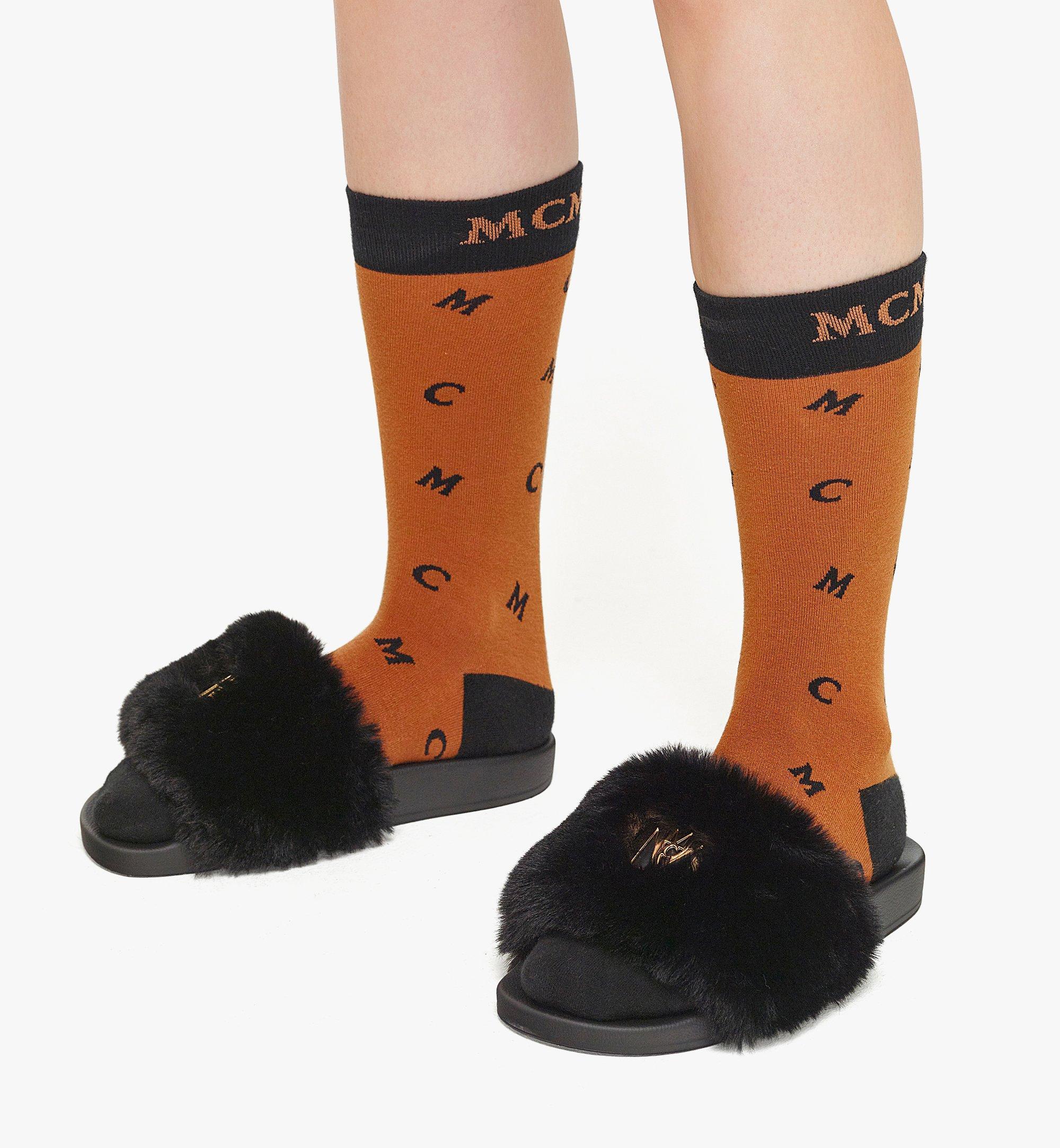 MCM Women's Faux Fur Logo Slides Black MESBASX04BK037 Alternate View 2