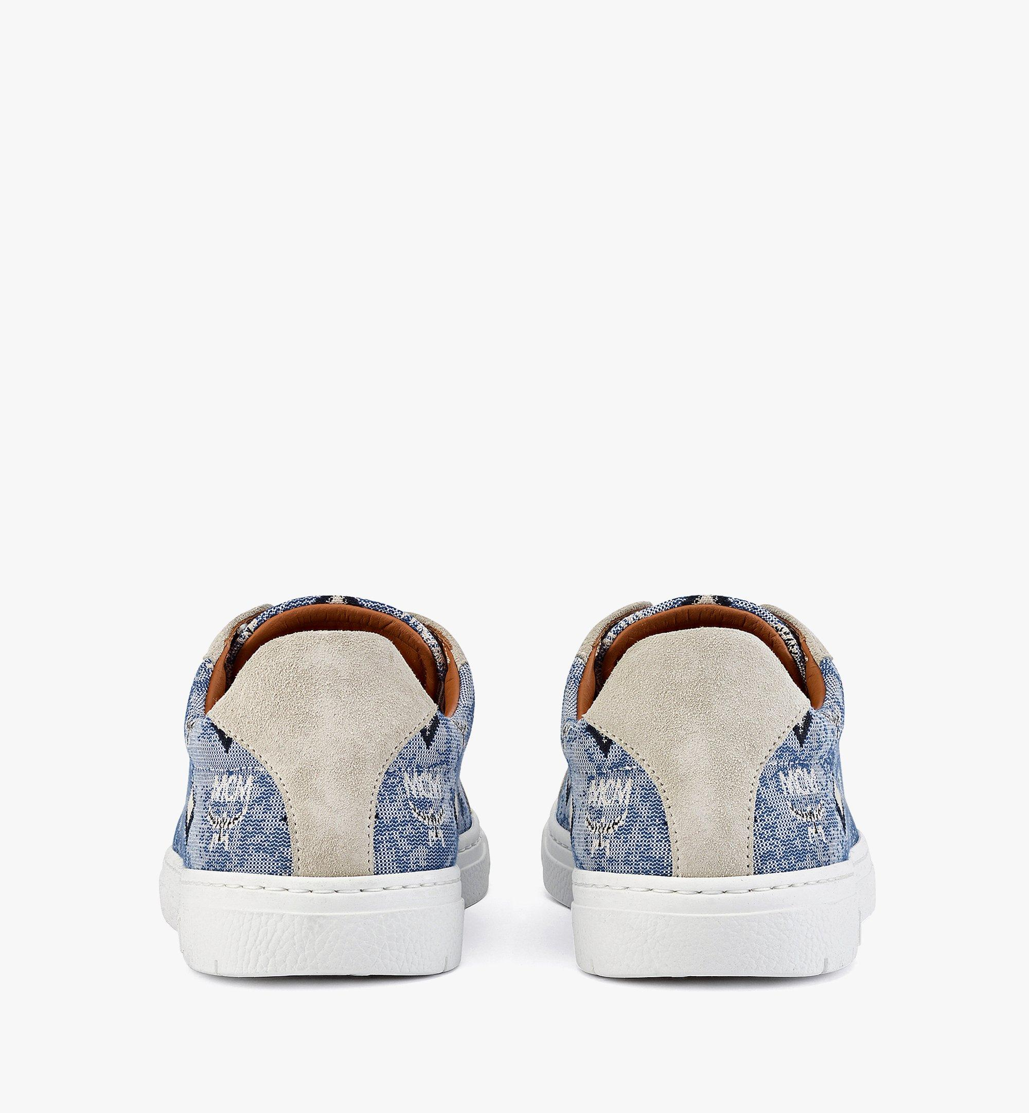 MCM Women's Terrain Lo Sneakers in Vintage Jacquard Monogram Blue MESBATQ02LU036 Alternate View 2