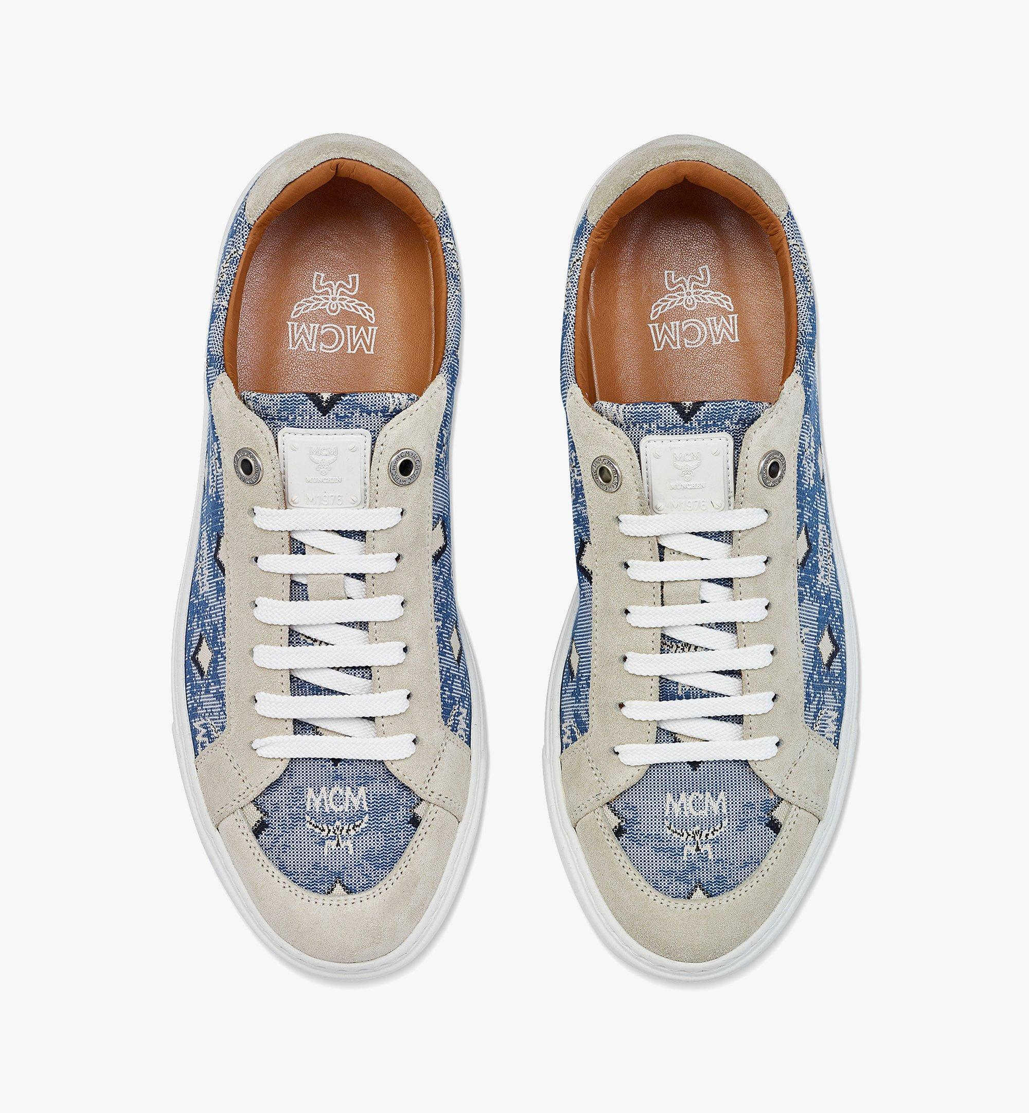 MCM Women's Terrain Lo Sneakers in Vintage Jacquard Monogram Blue MESBATQ02LU036 Alternate View 4