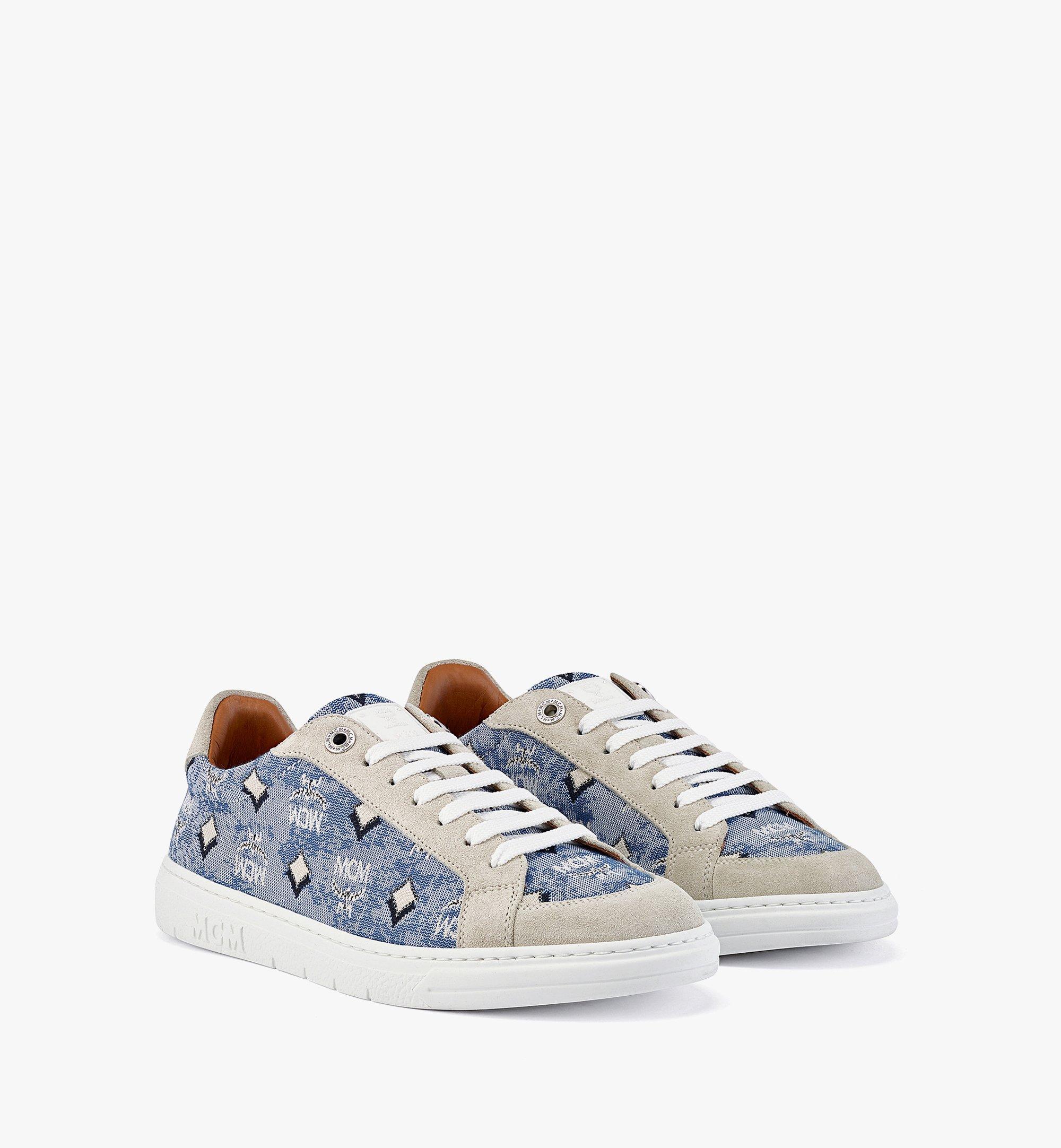 MCM Terrain Low-Top-Sneaker aus Vintage-Jacquard mit Monogramm für Damen Blue MESBATQ02LU037 Noch mehr sehen 1