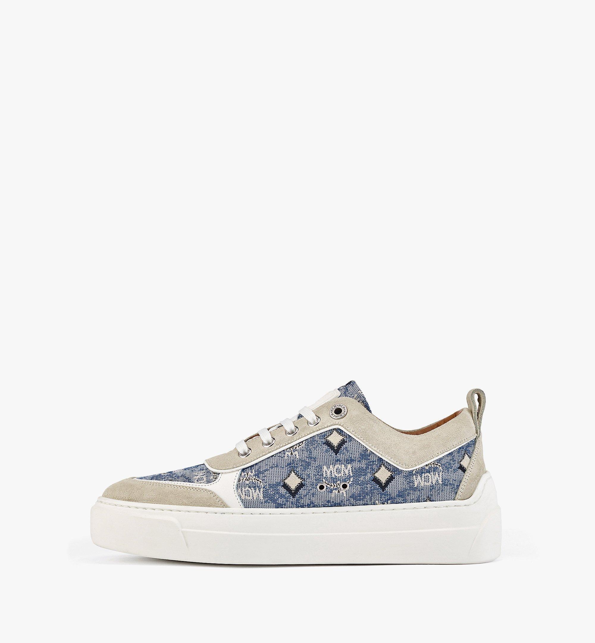 MCM Women's Skyward Platform Sneakers in Vintage Jacquard Monogram Blue MESBATQ03LU037 Alternate View 1