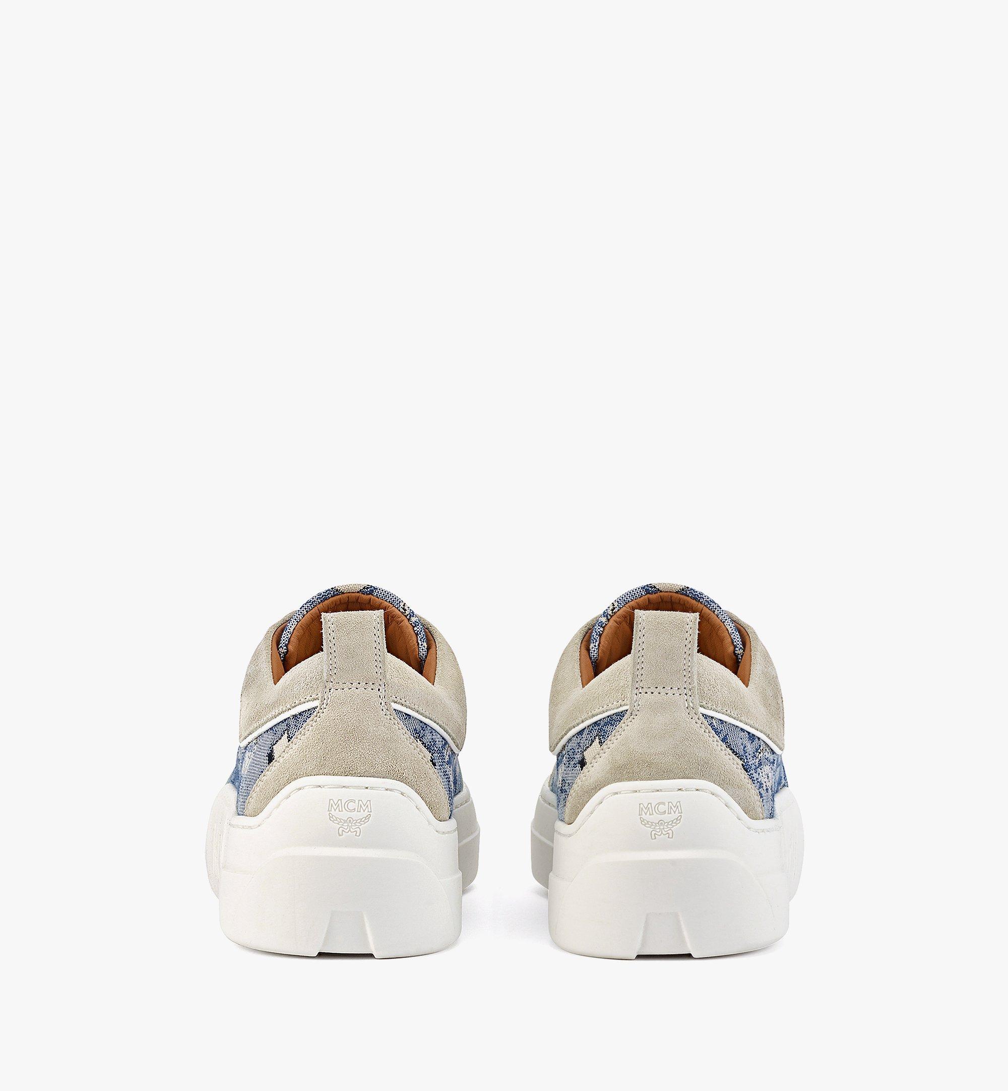MCM Women's Skyward Platform Sneakers in Vintage Jacquard Monogram Blue MESBATQ03LU037 Alternate View 2
