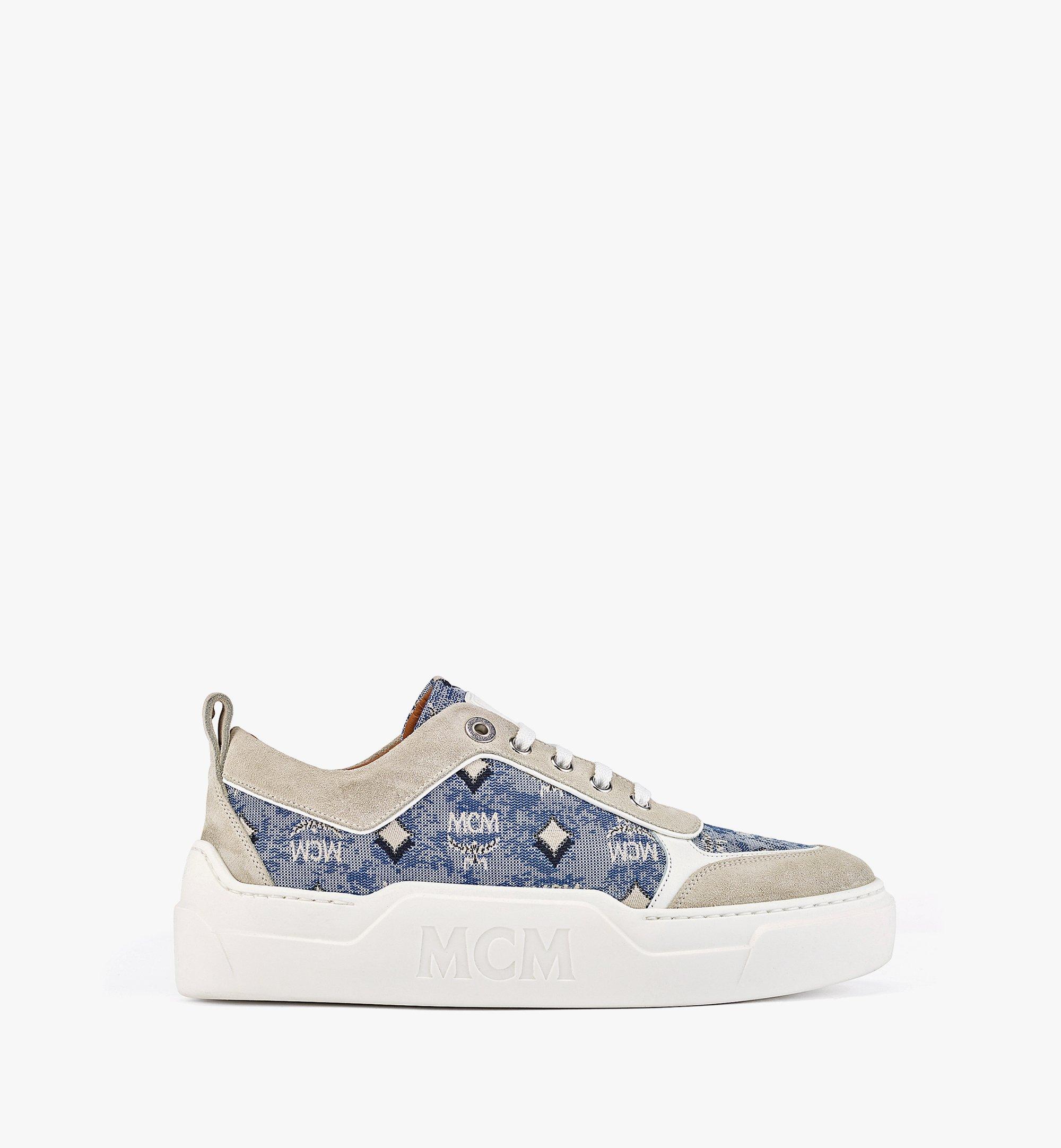 MCM Women's Skyward Platform Sneakers in Vintage Jacquard Monogram Blue MESBATQ03LU037 Alternate View 3