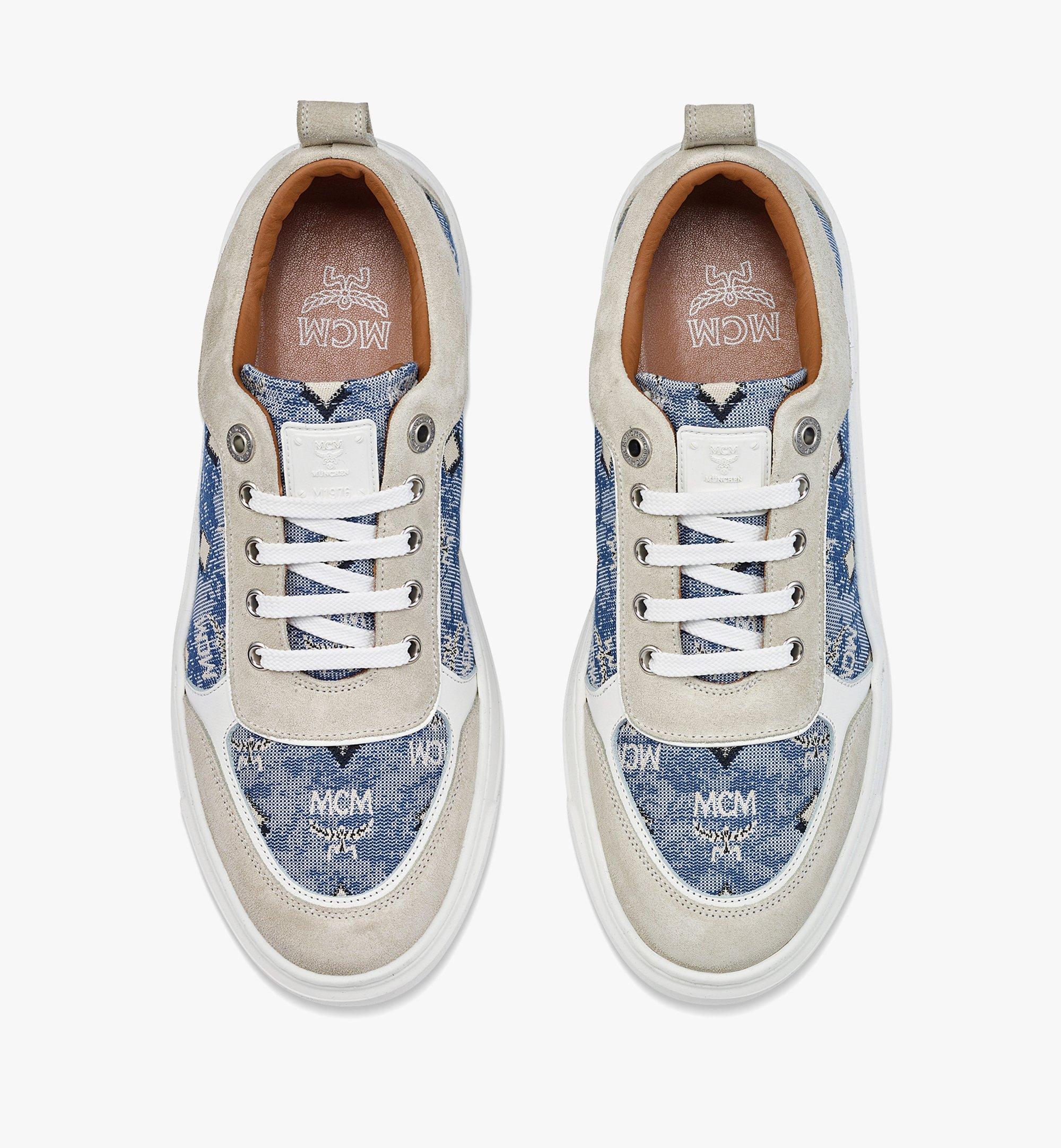MCM Women's Skyward Platform Sneakers in Vintage Jacquard Monogram Blue MESBATQ03LU037 Alternate View 4