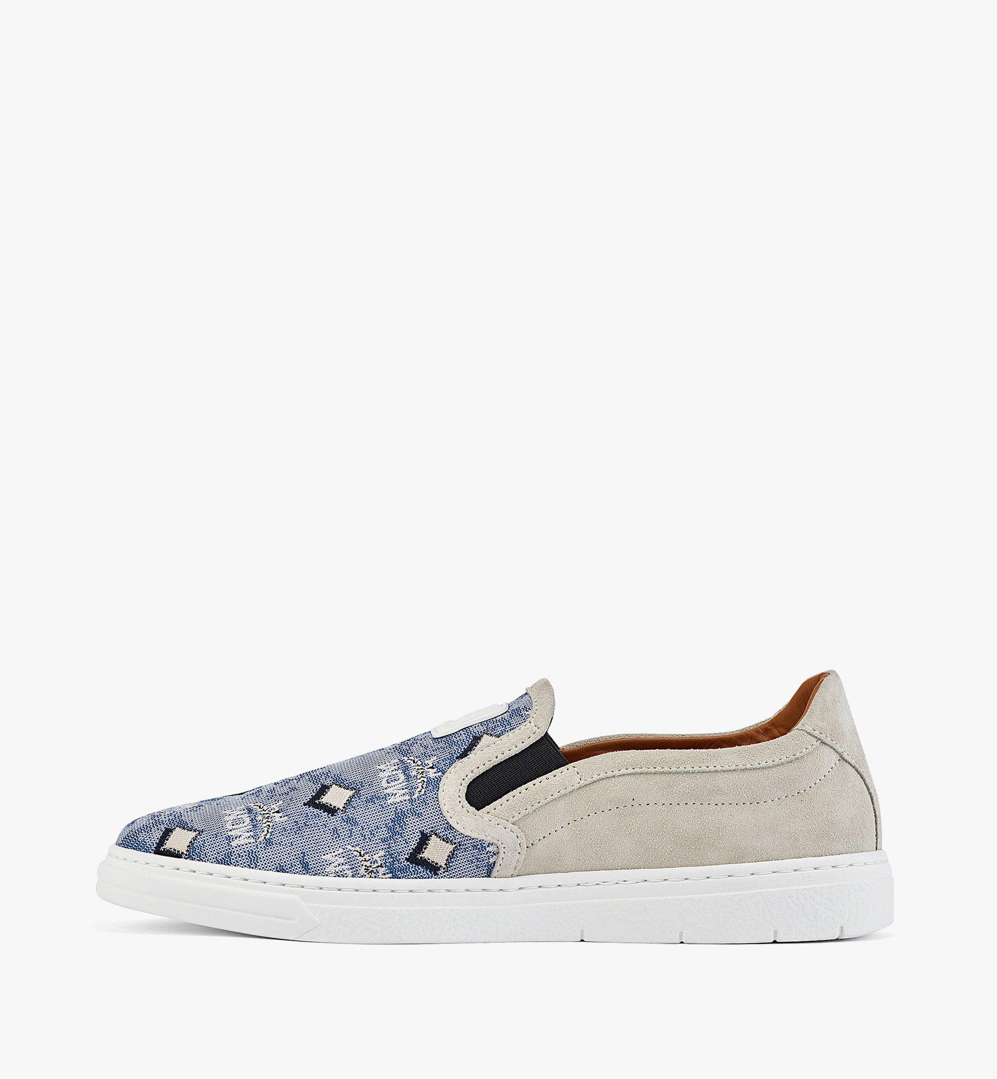 MCM Women's Slip-on Sneakers in Vintage Jacquard Monogram Blue MESBATQ05LU036 Alternate View 1