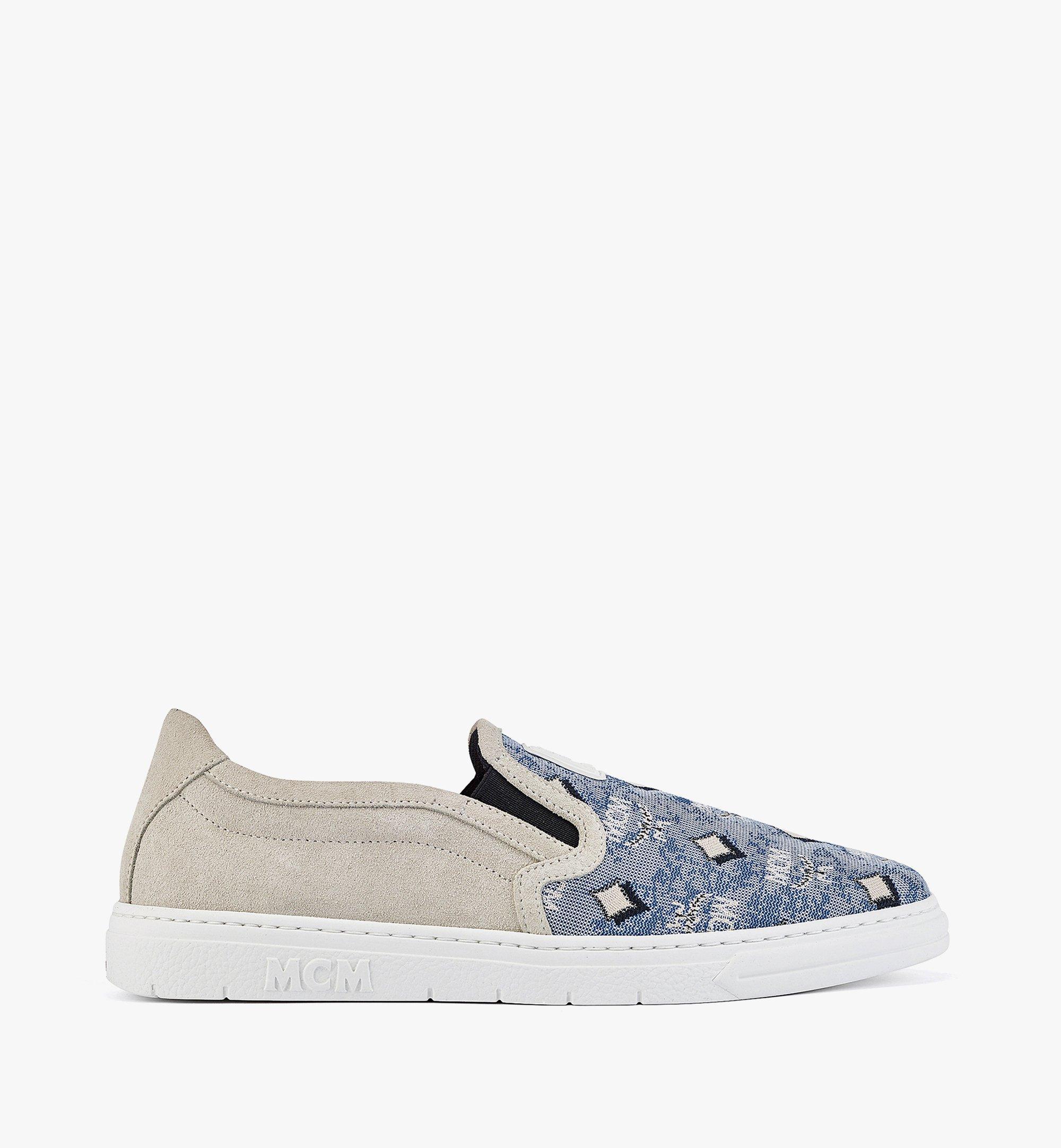 MCM Women's Slip-on Sneakers in Vintage Jacquard Monogram Blue MESBATQ05LU036 Alternate View 3