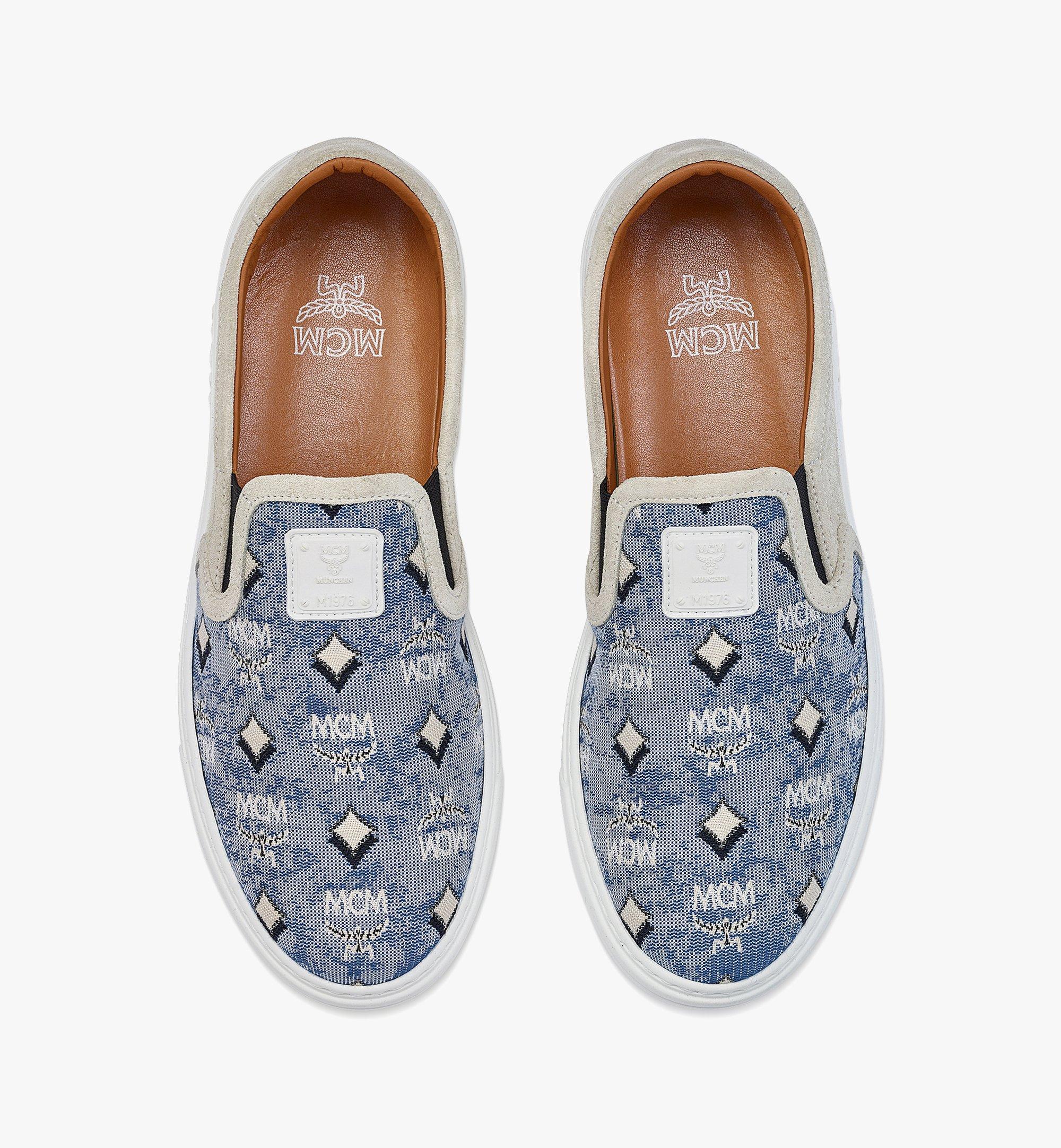 MCM Women's Slip-on Sneakers in Vintage Jacquard Monogram Blue MESBATQ05LU036 Alternate View 4
