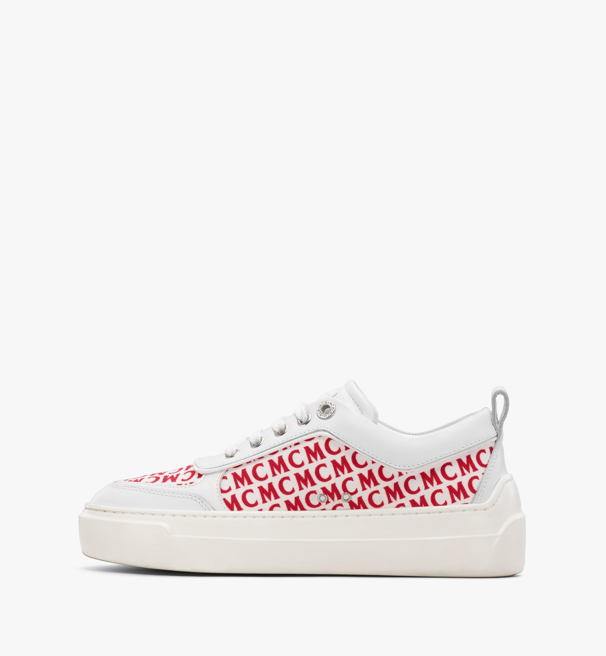 MCM Women's Skyward Platform Sneakers in Diagonal Monogram Canvas White MESBSMM05WT038 Alternate View 1