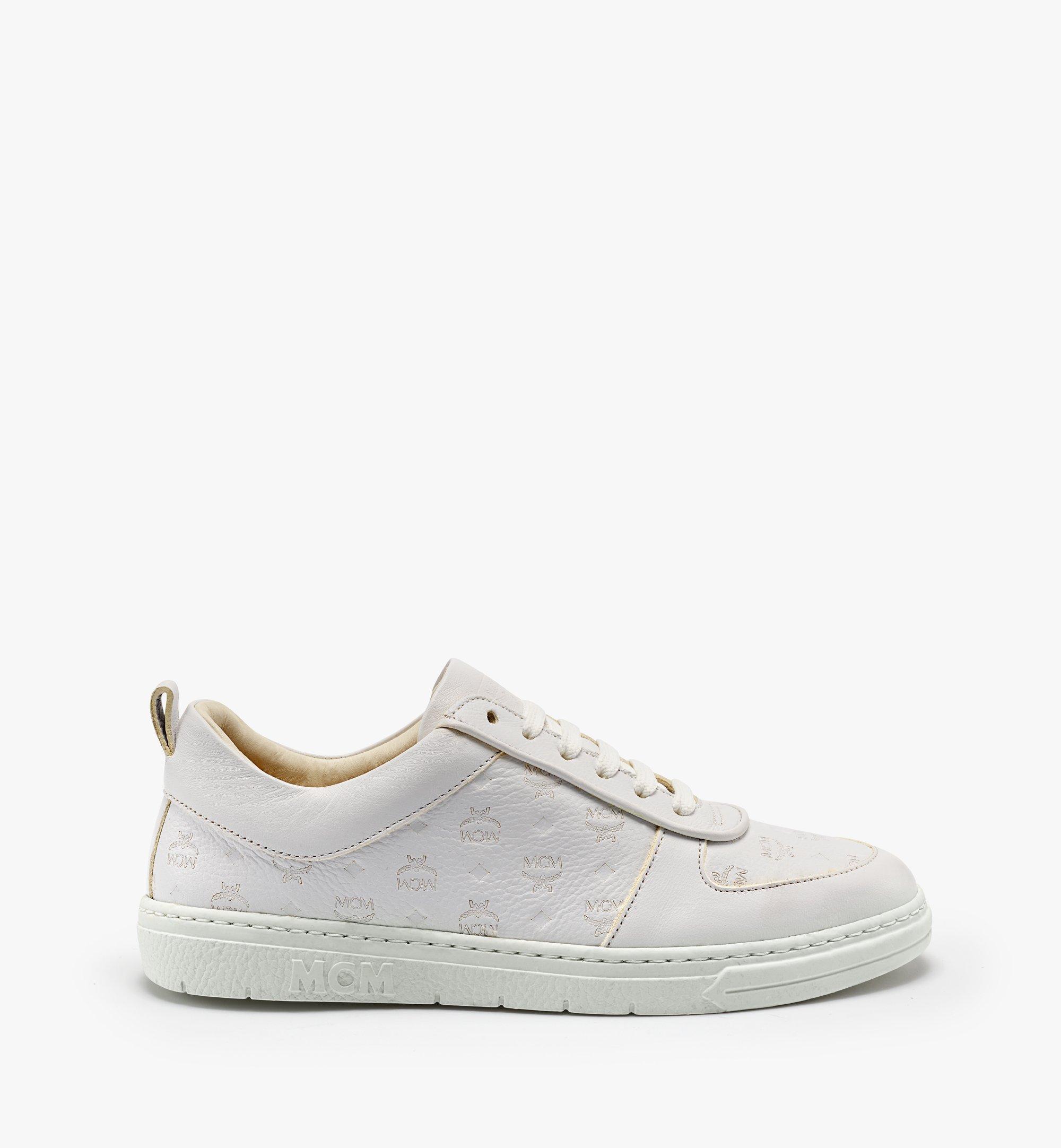 MCM 女士Terrain经典花纹皮革环保低帮运动鞋 White MESBSMM09WT035 更多视角 1