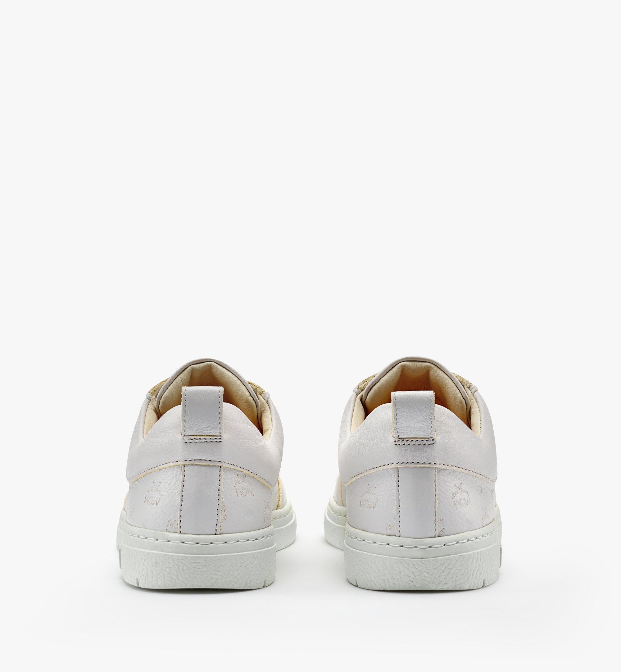 MCM 女士Terrain经典花纹皮革环保低帮运动鞋 White MESBSMM09WT035 更多视角 2