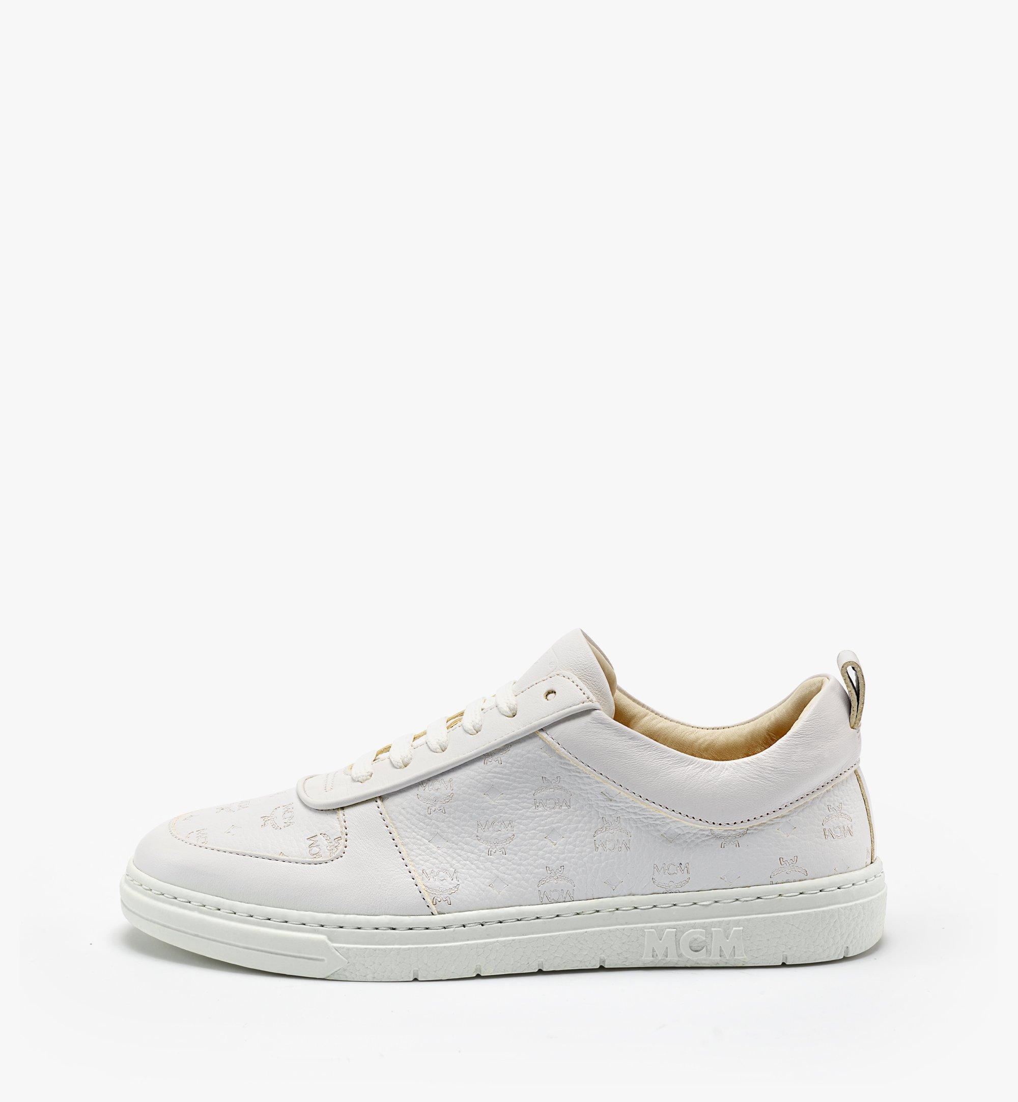 MCM 女士Terrain经典花纹皮革环保低帮运动鞋 White MESBSMM09WT035 更多视角 3