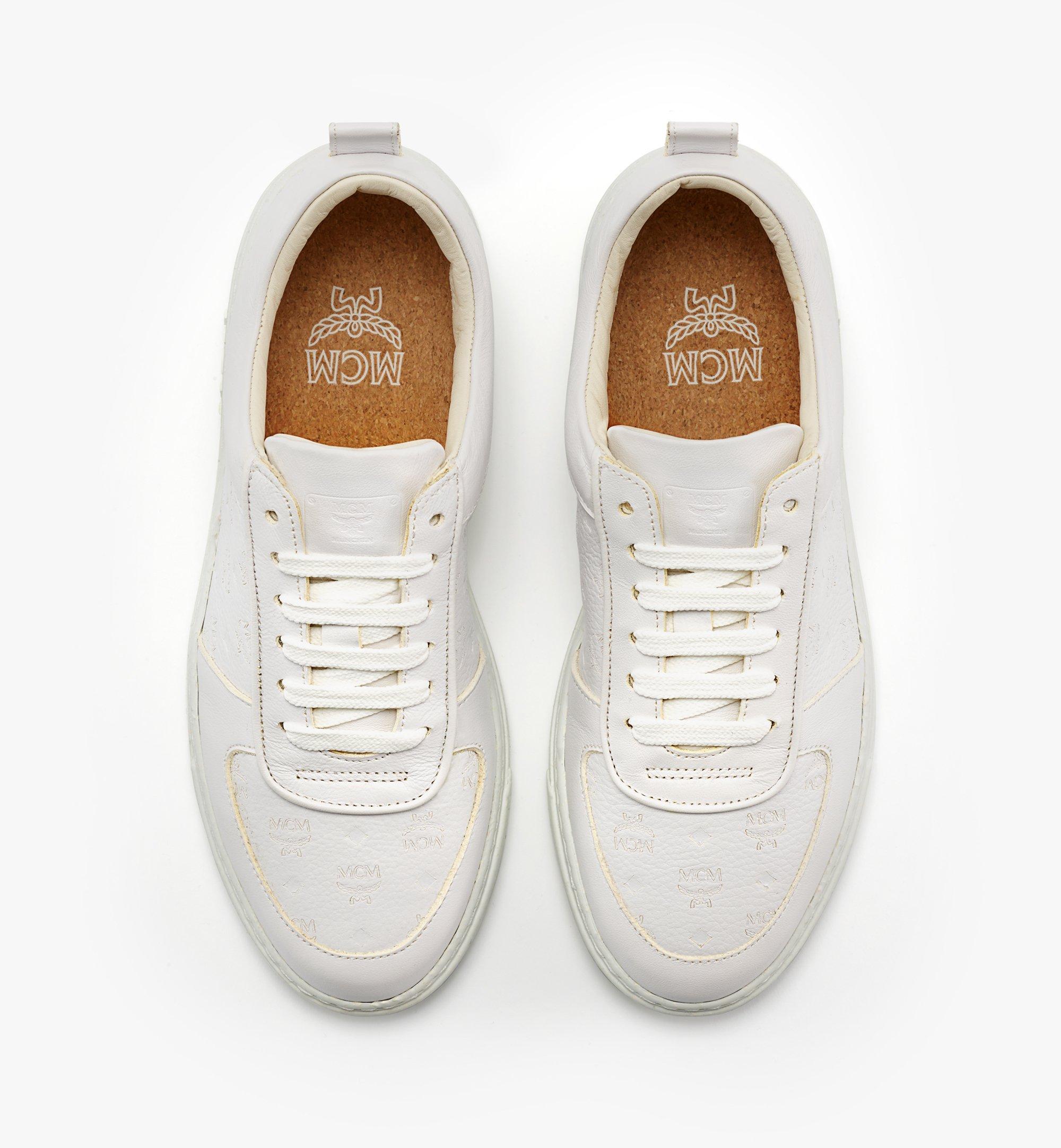 MCM 女士Terrain经典花纹皮革环保低帮运动鞋 White MESBSMM09WT035 更多视角 4