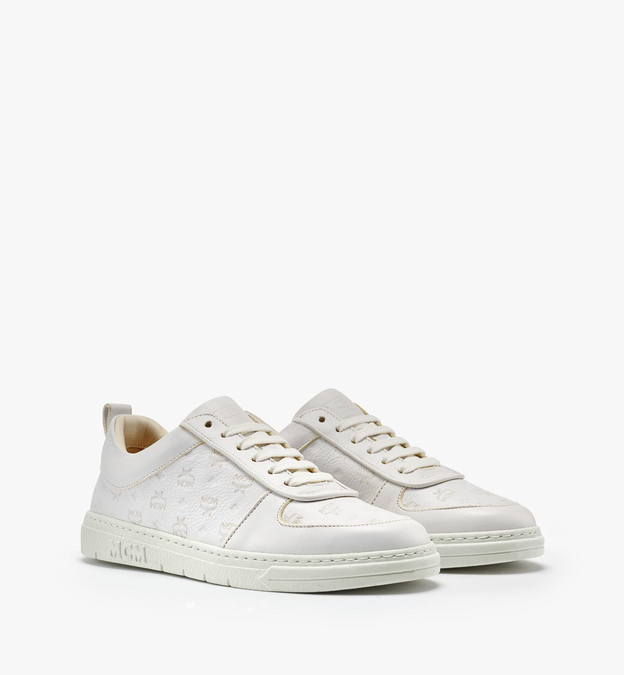 MCM 女士Terrain经典花纹皮革环保低帮运动鞋 White MESBSMM09WT035 更多视角 5
