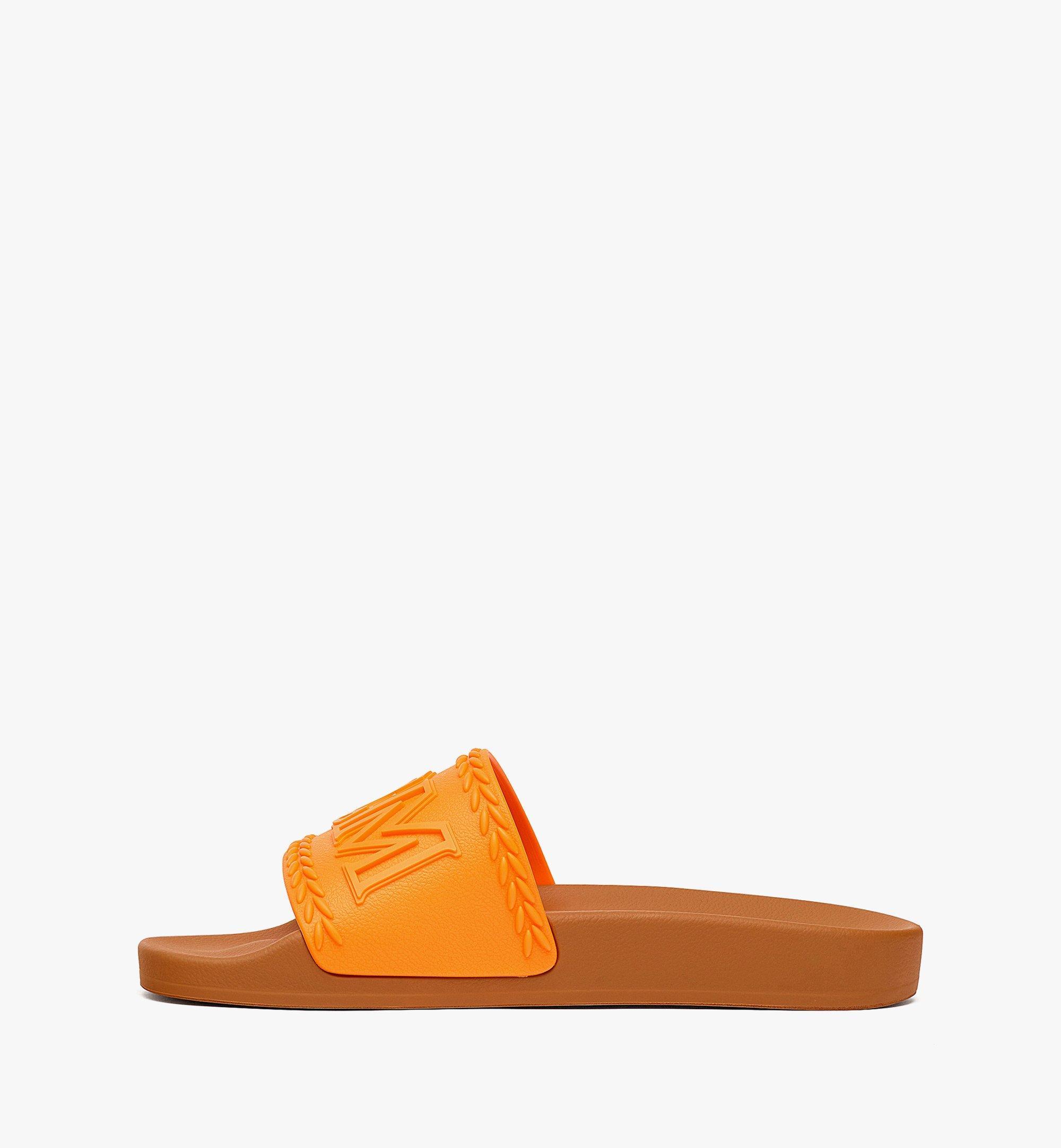MCM 女士 Big Logo 橡膠拖鞋 Orange MESBSMM15O9036 更多視圖 1