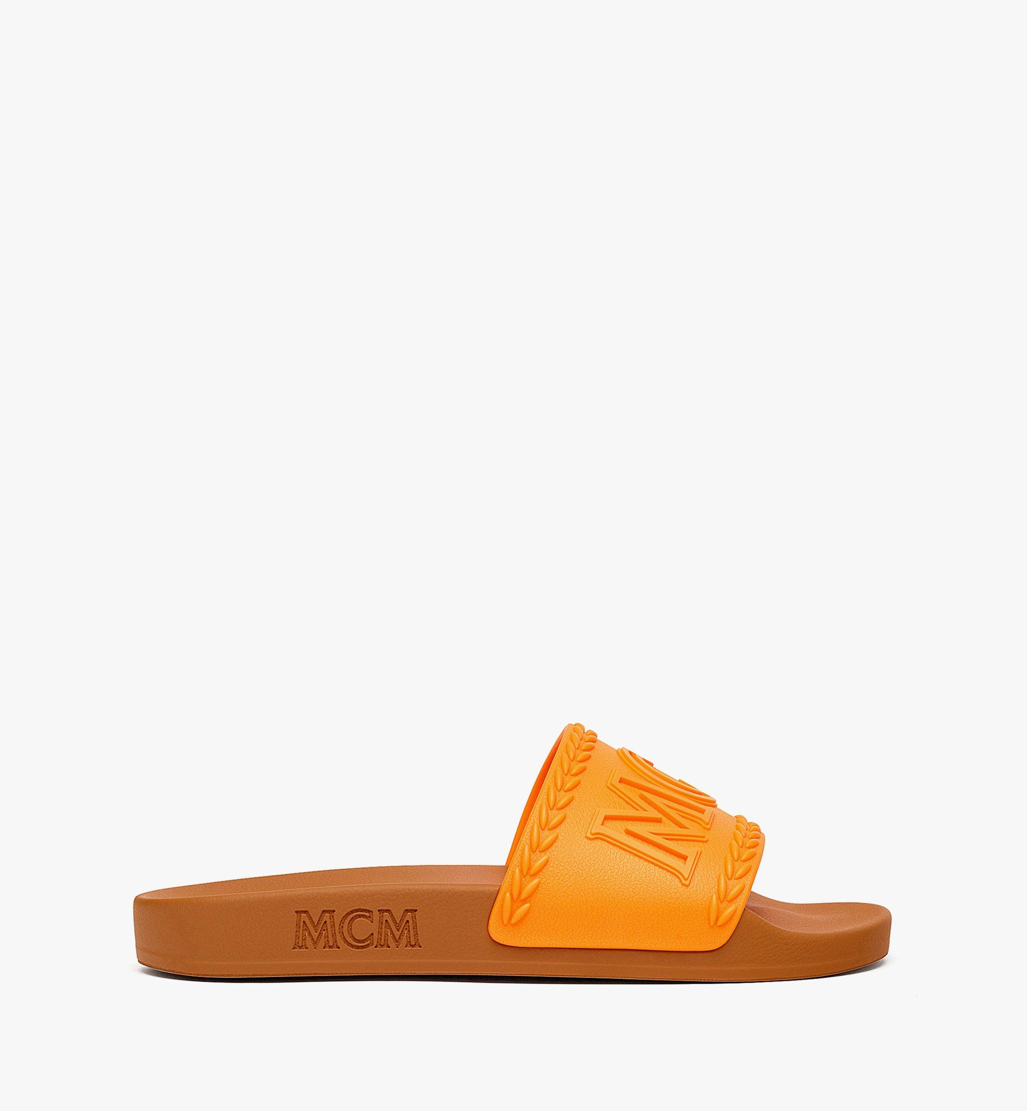 MCM 女士 Big Logo 橡膠拖鞋 Orange MESBSMM15O9036 更多視圖 3