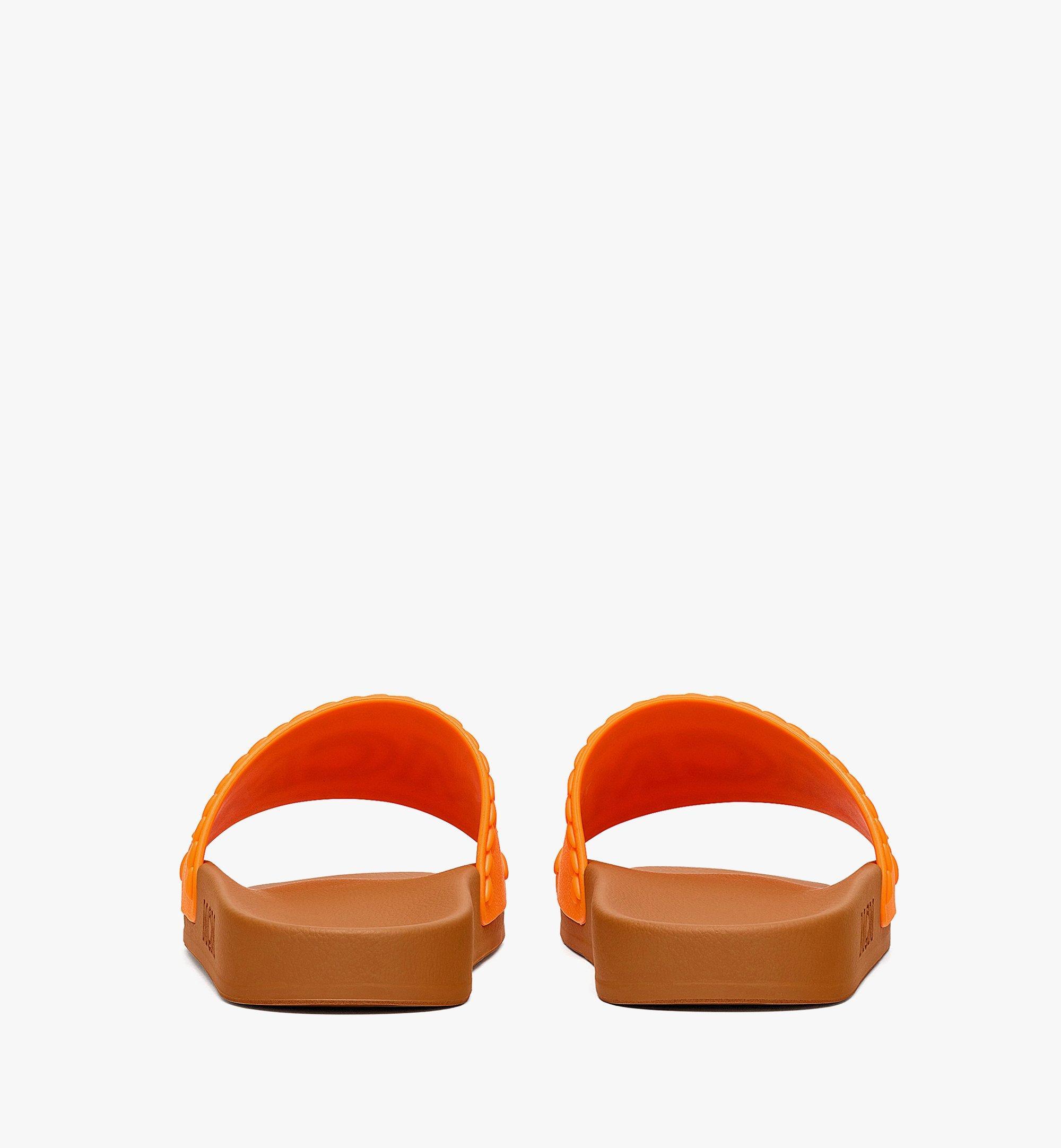 MCM Women's Big Logo Rubber Slides Orange MESBSMM15O9037 Alternate View 2