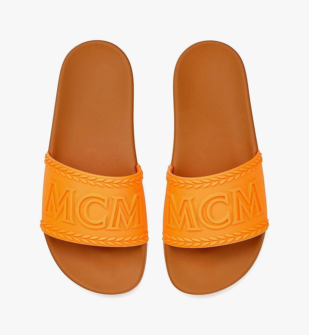 MCM Women's Big Logo Rubber Slides Orange MESBSMM15O9037 Alternate View 4