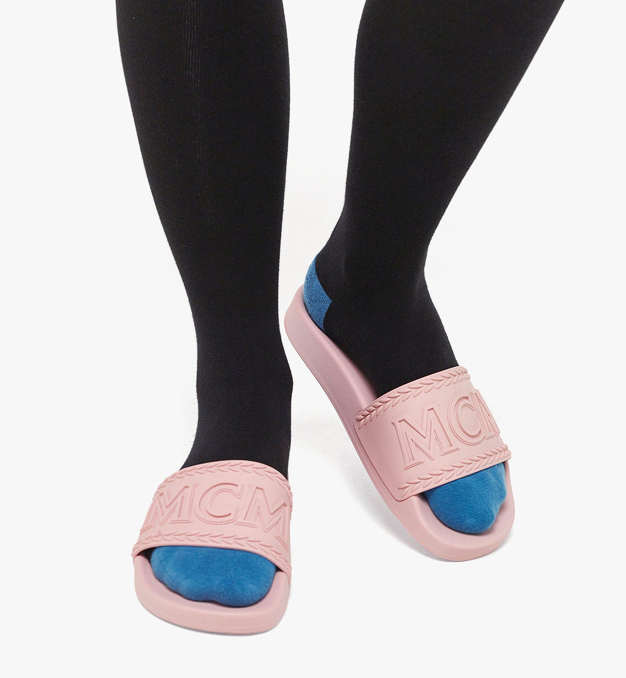 MCM 女士Big Logo橡胶拖鞋 Pink MESBSMM15QH035 更多视角 2