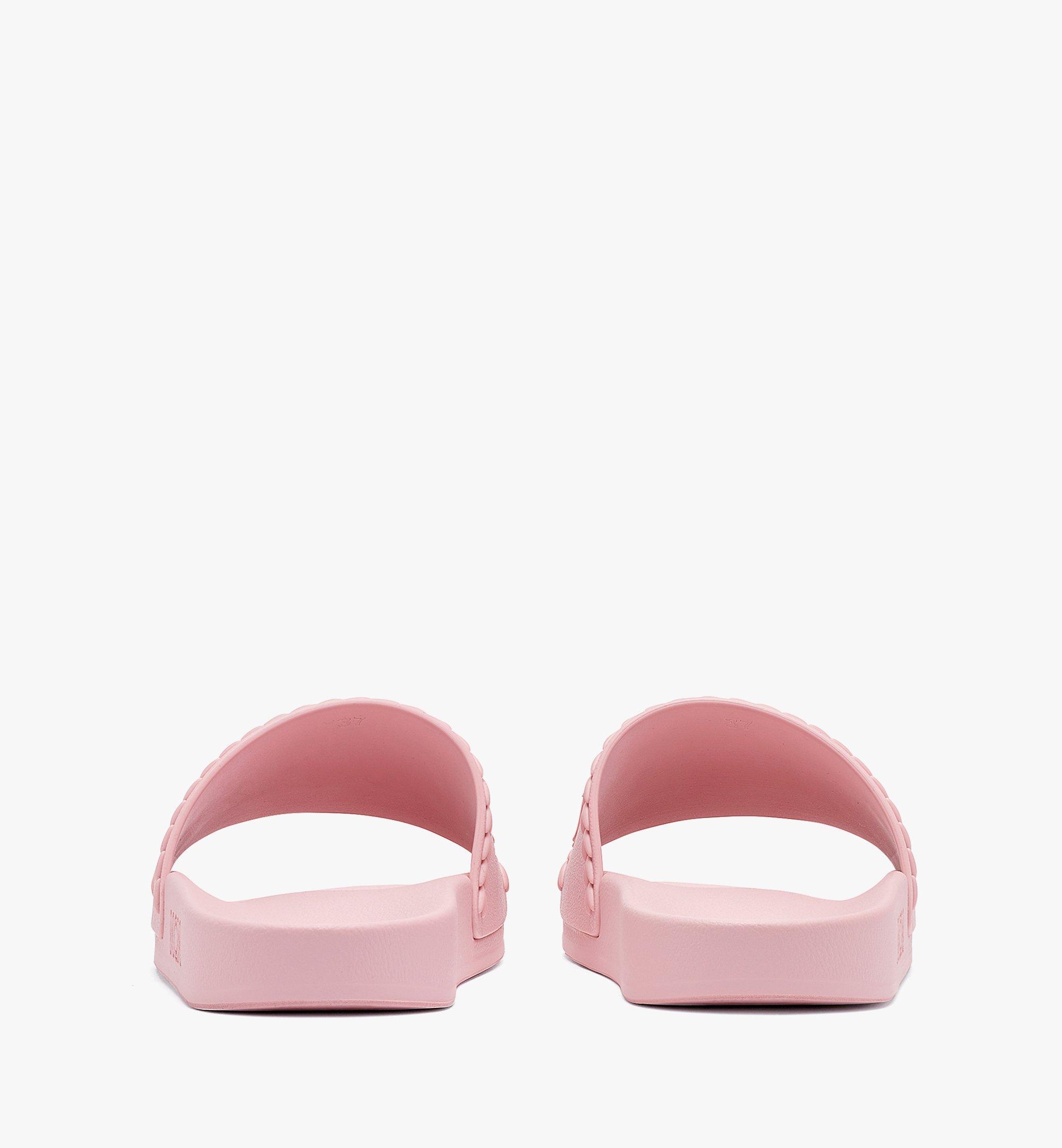 MCM Women's Big Logo Rubber Slides Pink MESBSMM15QH038 Alternate View 2