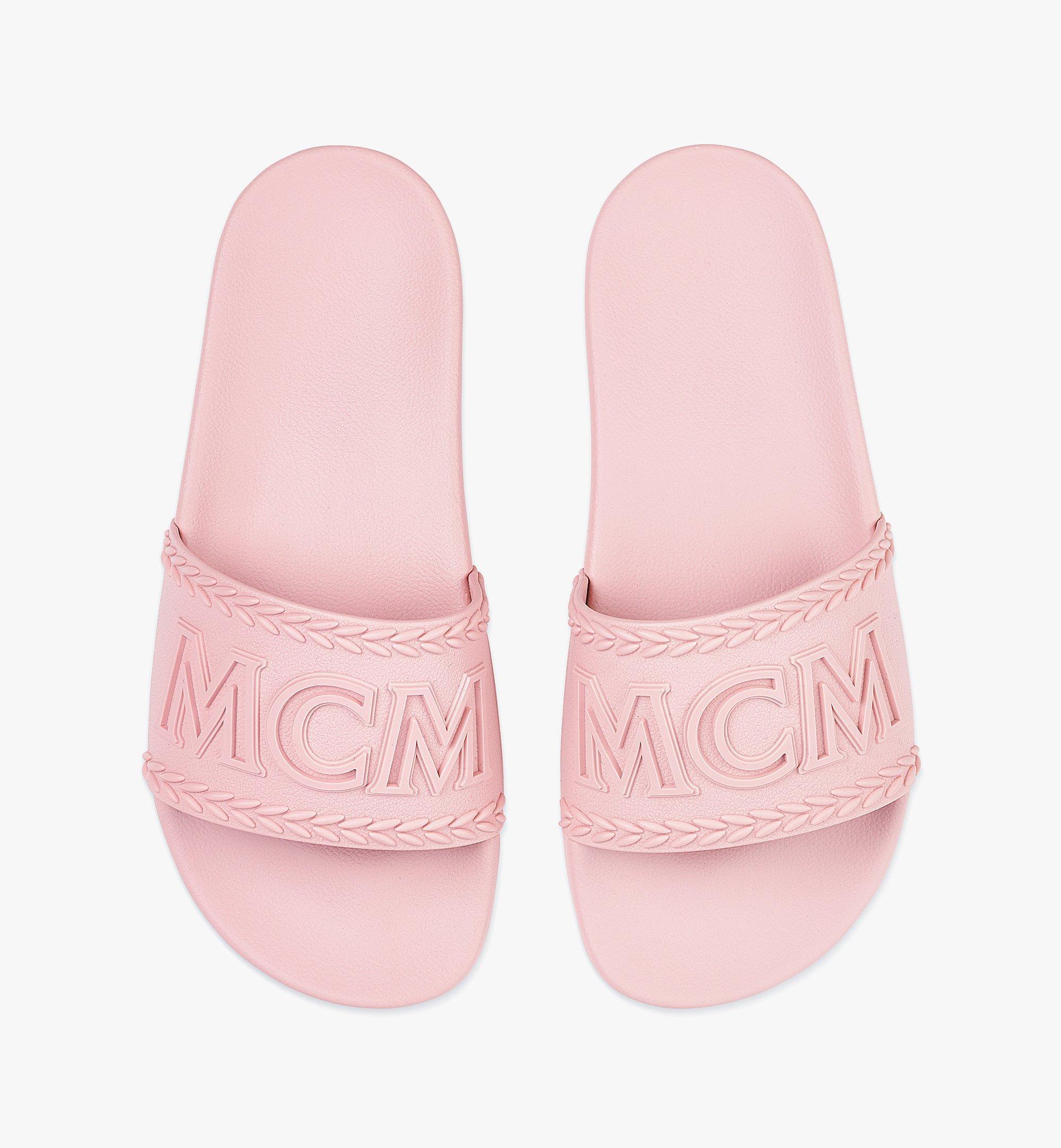 MCM Women's Big Logo Rubber Slides Pink MESBSMM15QH038 Alternate View 4