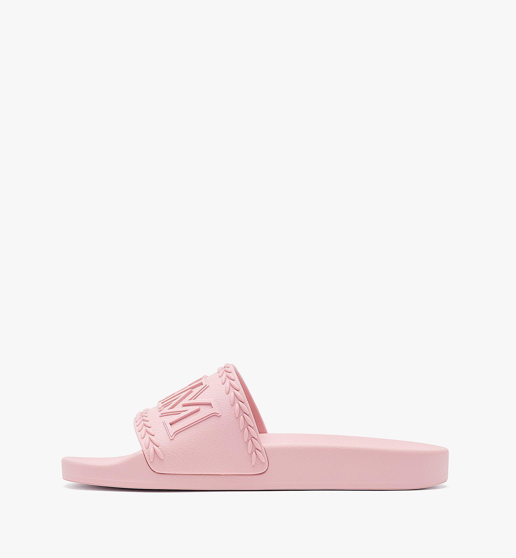MCM Women's Big Logo Rubber Slides Pink MESBSMM15QH040 Alternate View 1